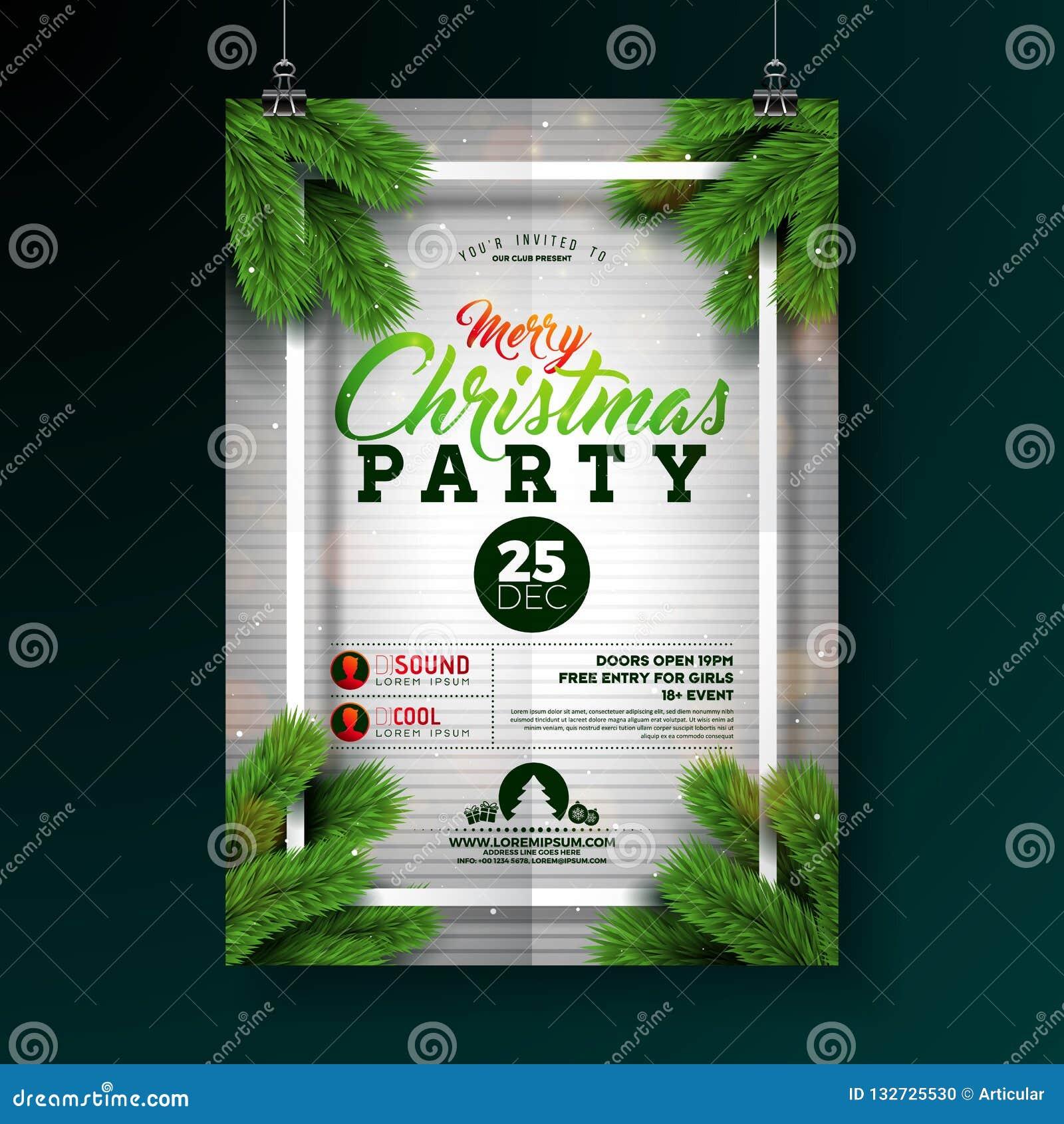 Weihnachtsfest-Flieger-Illustration mit Typografie-Beschriftung und Kiefern-Niederlassung auf weißem Hintergrund Vektor-Feiertag