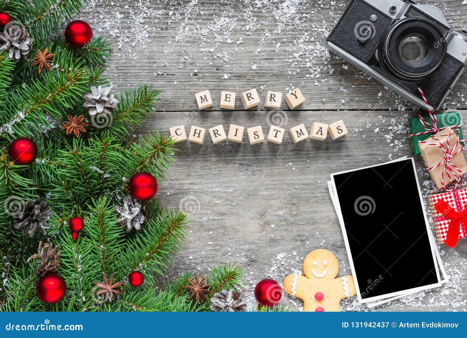 weihnachtsfotokarte aufschrift der frohen weihnachten mit