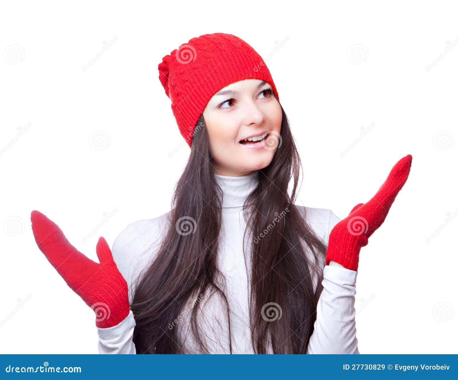 Weihnachtsfrauenlächeln und wellenartig bewogene Hände