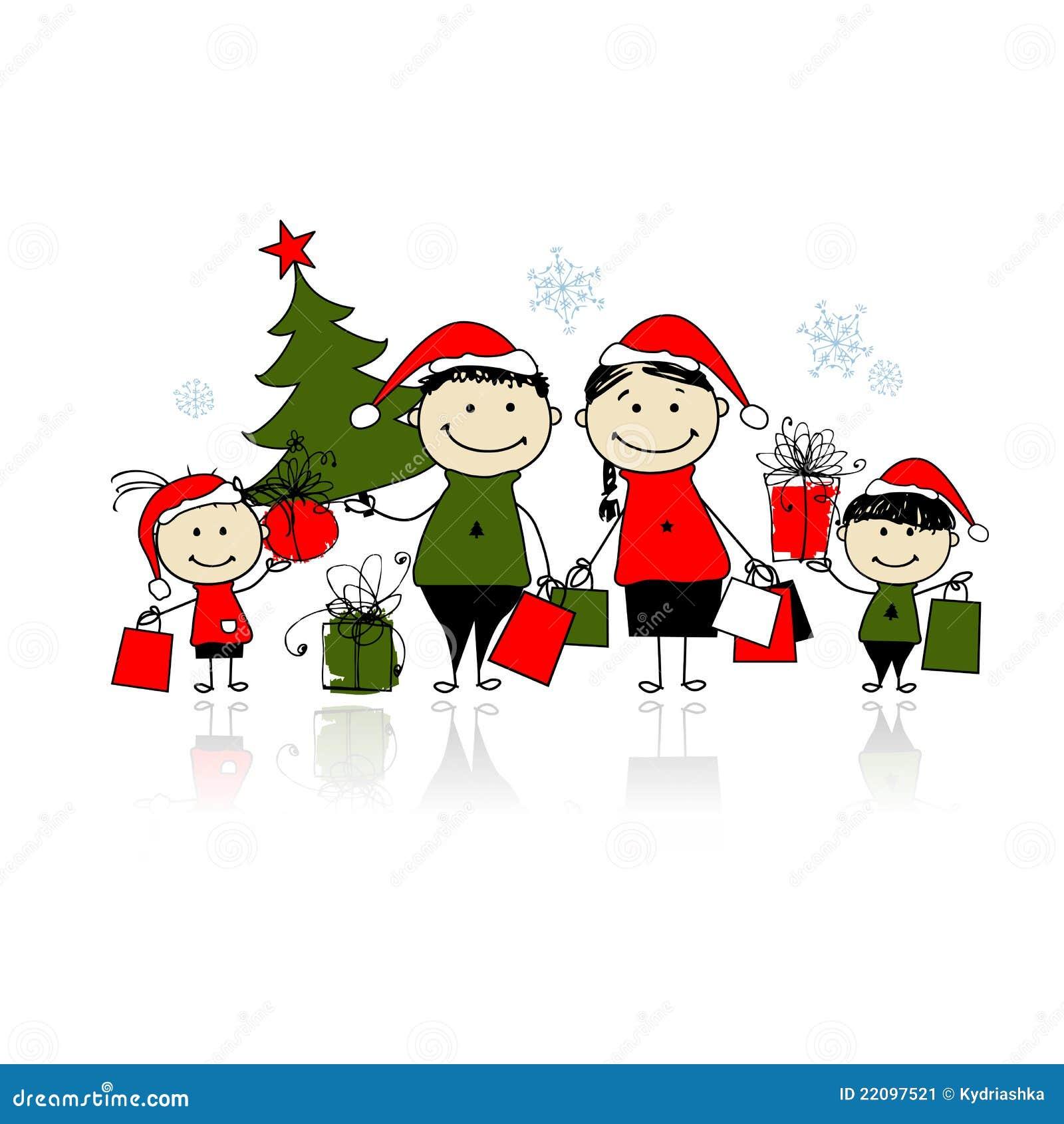 Weihnachtsgeschenke. Familie Mit Einkaufenbeuteln Vektor Abbildung ...