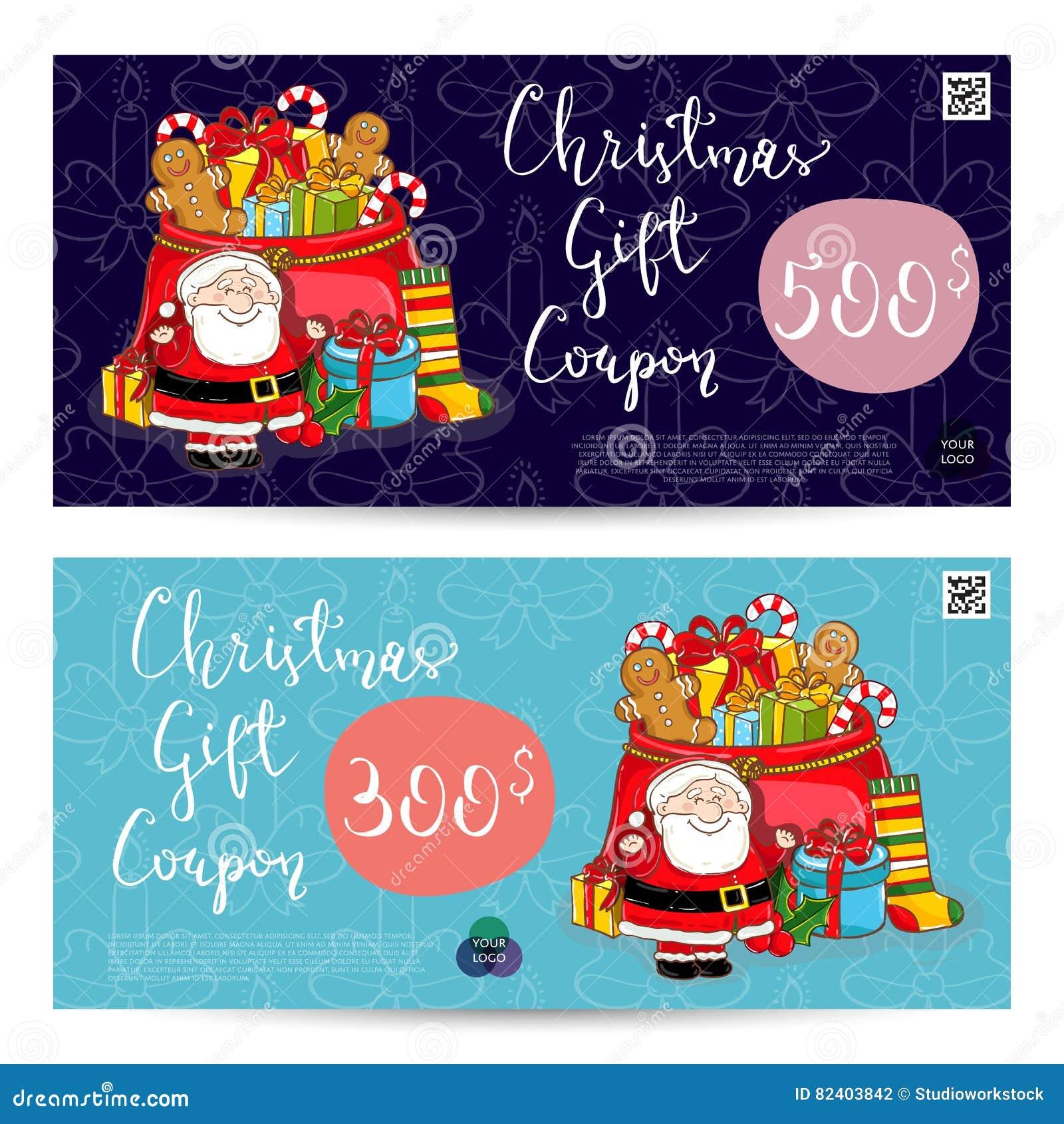 Weihnachtsgeschenkgutschein mit frankierter Summen-Schablone