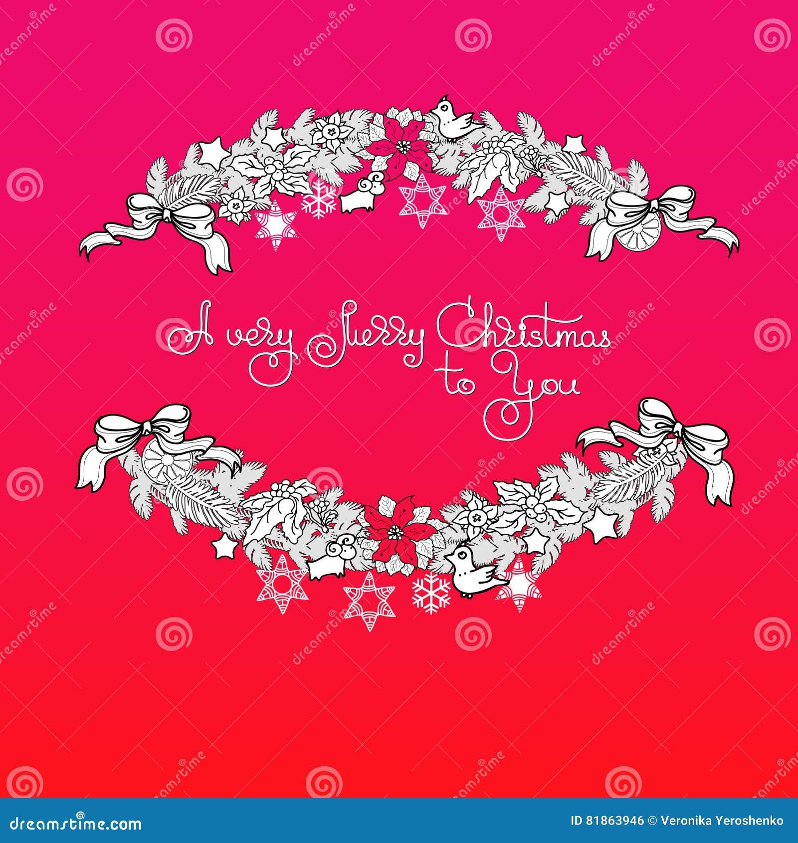 Weihnachtsgirlande Und Handgeschriebene Wörter A Sehr Frohe ...