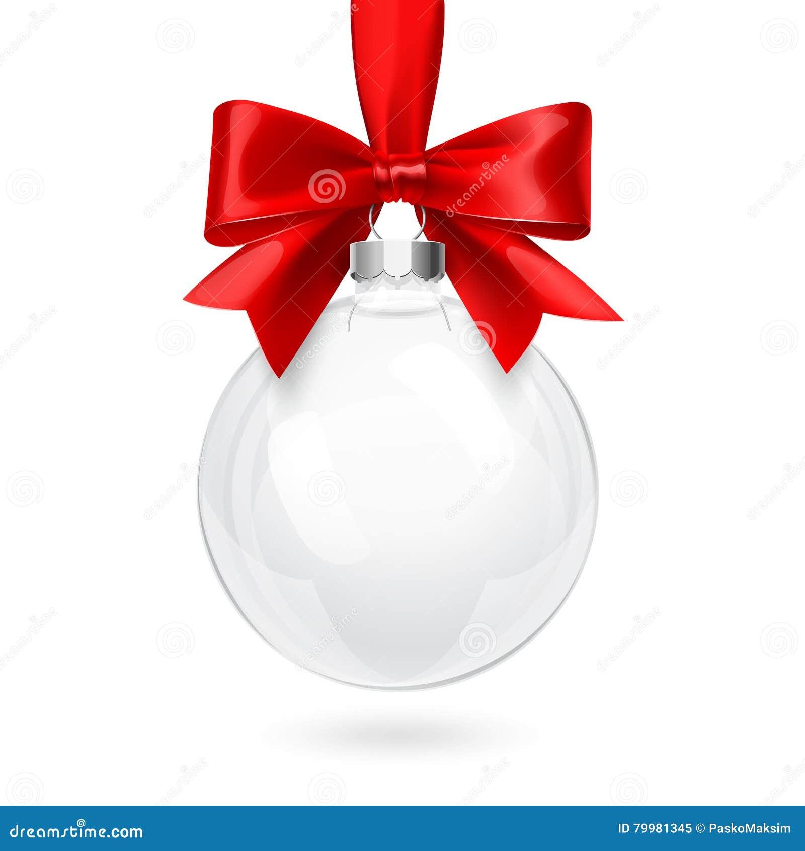 Weihnachtsglaskugel mit rotem Bogen