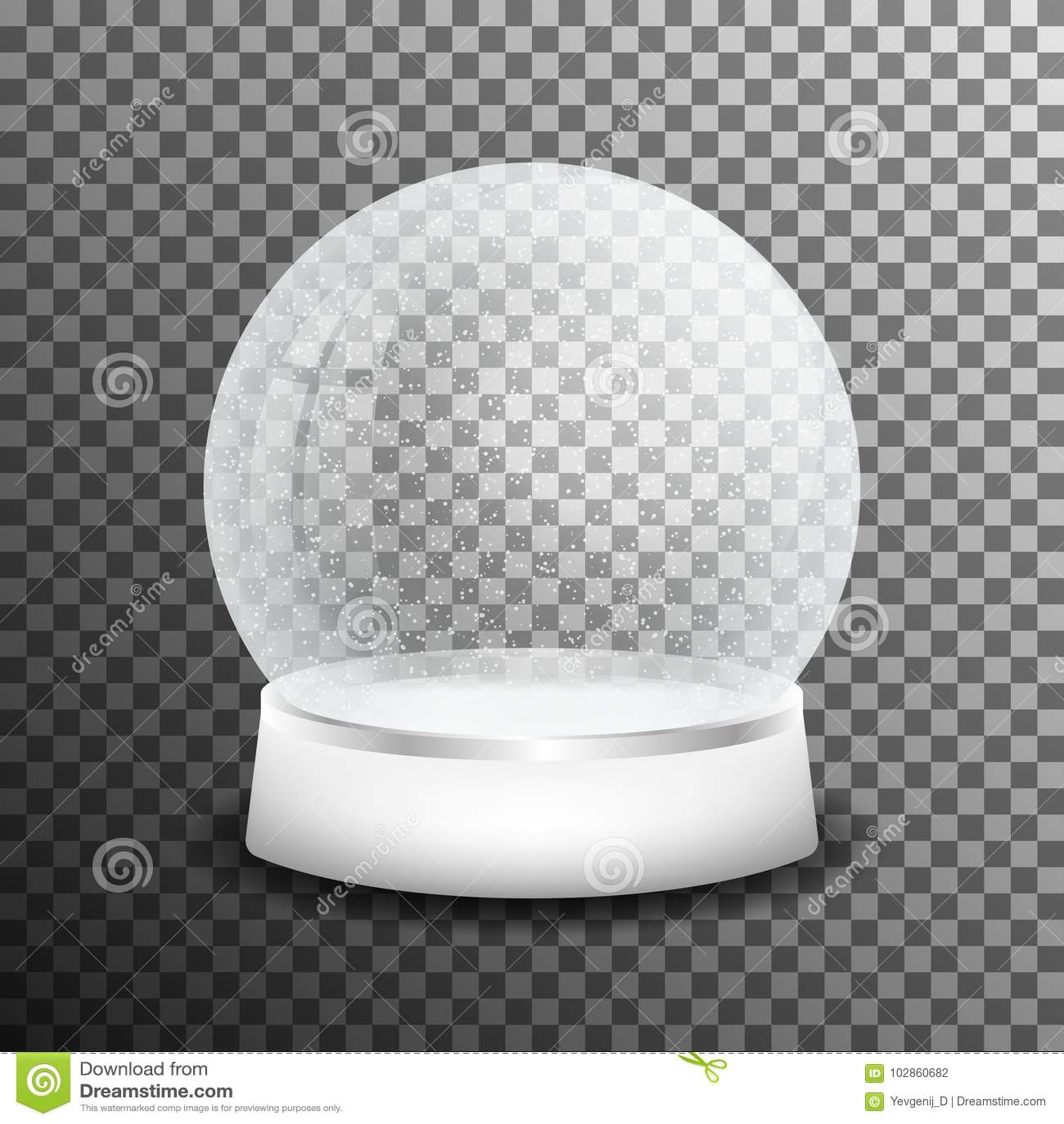 Weihnachtsglasschneeball auf transparentem Hintergrund Realistischer Kristallschneeball mit heller Reflexion