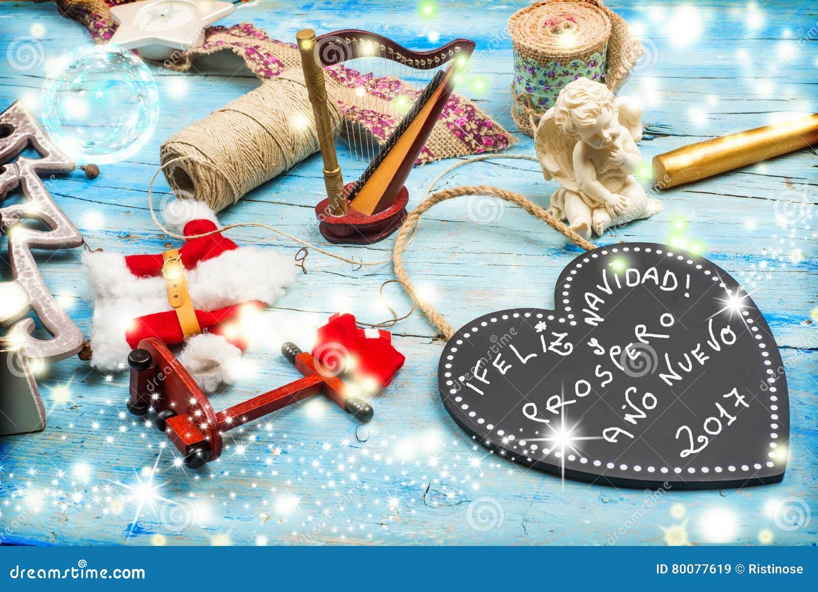 Weihnachtsgrüße Auf Spanisch.Weihnachtsgrüße Spanische Sprache Stockbild Bild Von Tafel