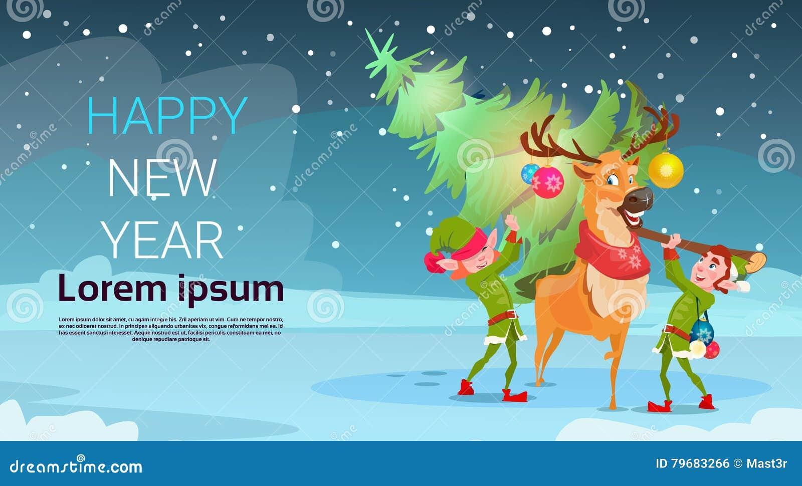 Weihnachtsgrüne Baum-Elfen-Ren-Gruß-Karten-Dekorations-guten Rutsch ...