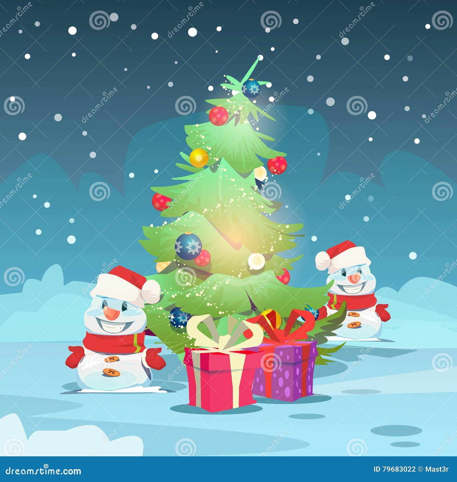 Weihnachtsgrüne Baum-Schneemann-Gruß-Karten-Dekorations-guten Rutsch ...