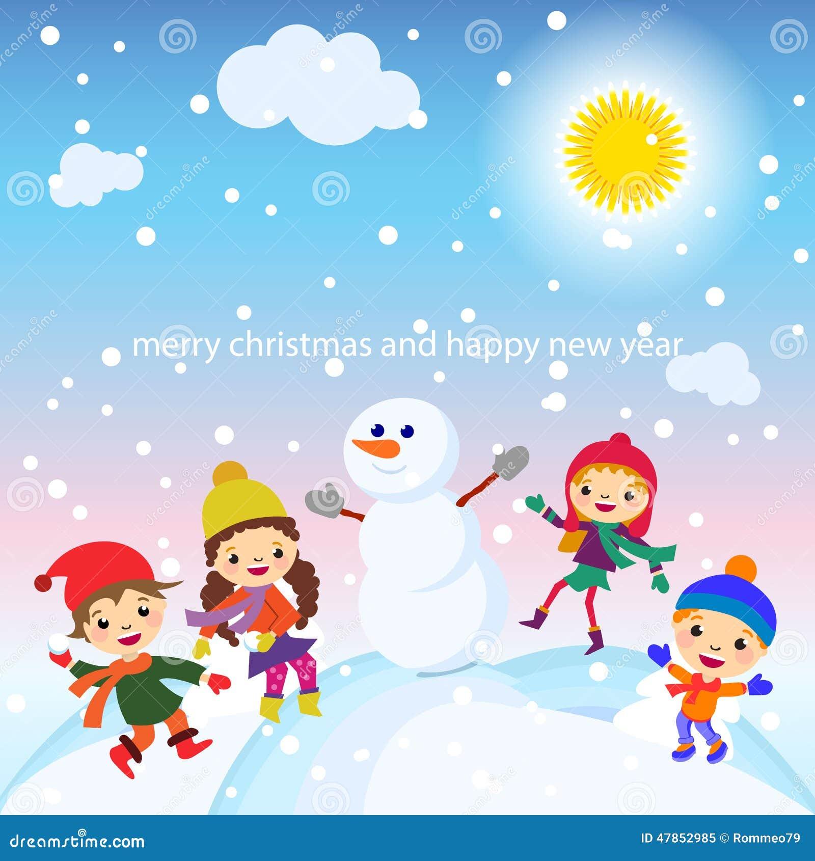 Weihnachtsgruß-Karten-Kinder-, Schnee- Und Schneemannvektor Vektor ...