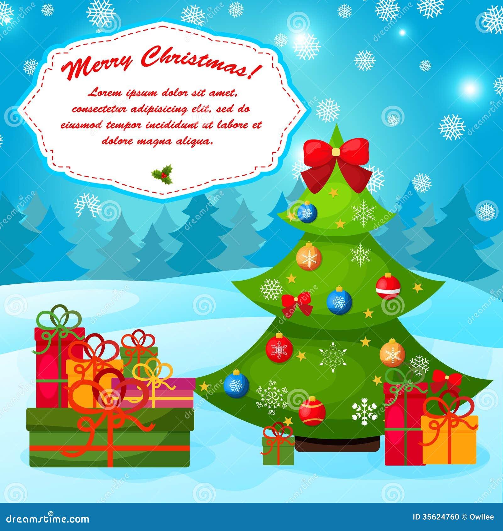 Gutschein Weihnachtsbaum.Weihnachtsgruß Oder Gutschein Mit Weihnachtsbaum Vektor Abbildung