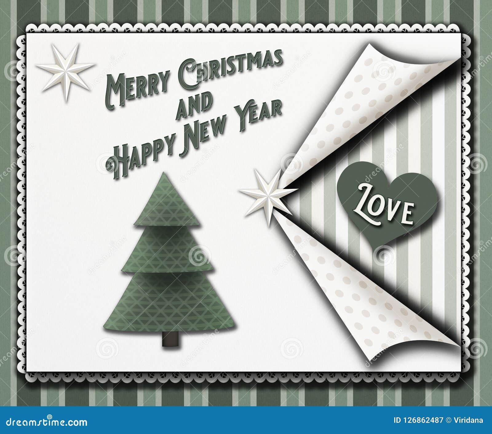 Weihnachtsgrußkarte in einer scrapbooking Art der Weinlese mit Sternen und ein christmastree und die Wortfröhlichen Weihnachten-