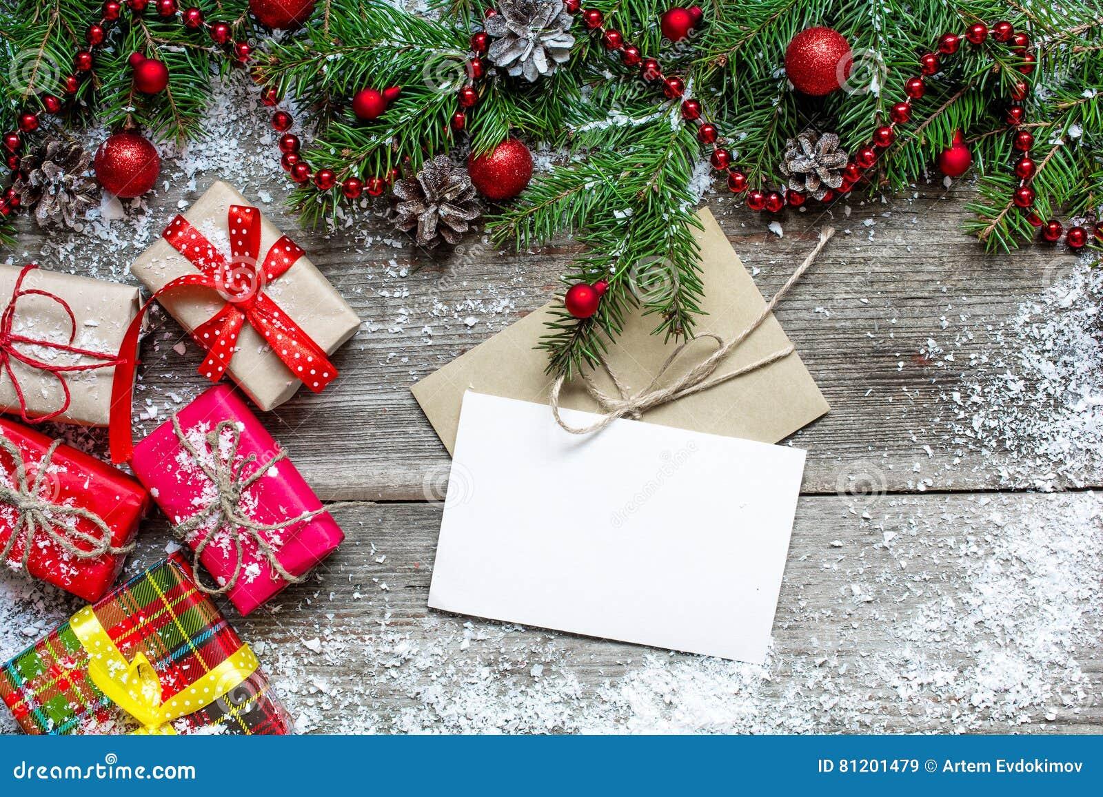 Weihnachtsgru karte mit geschenkboxen tannenbaum und dekoration stockbild bild von karte - Tannenbaum dekoration ...
