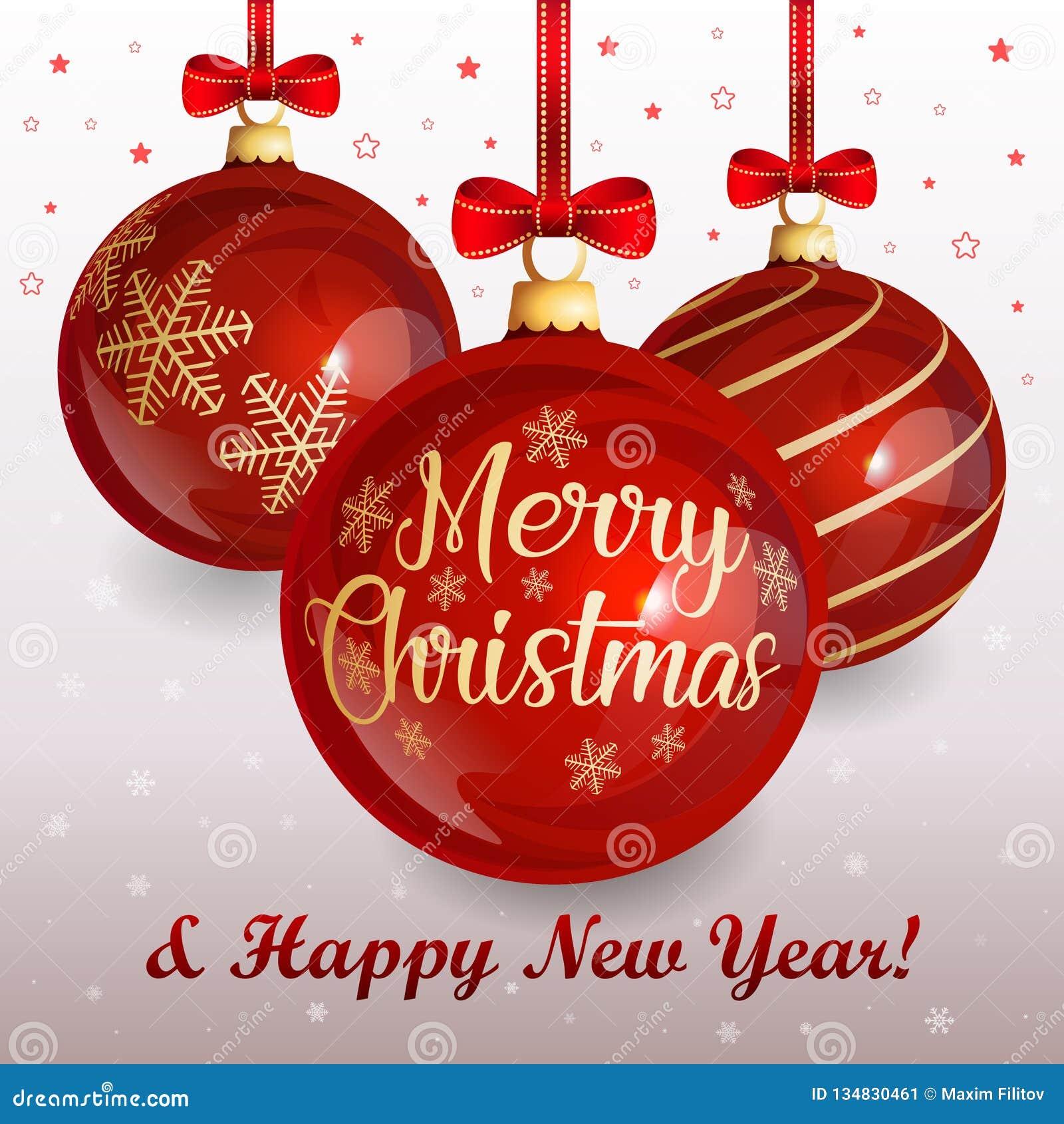 Weihnachtsgrußkarte mit roten Glasweihnachtsbällen und roten Bögen auf Winterhintergrund mit Schneeflocken und Sternen