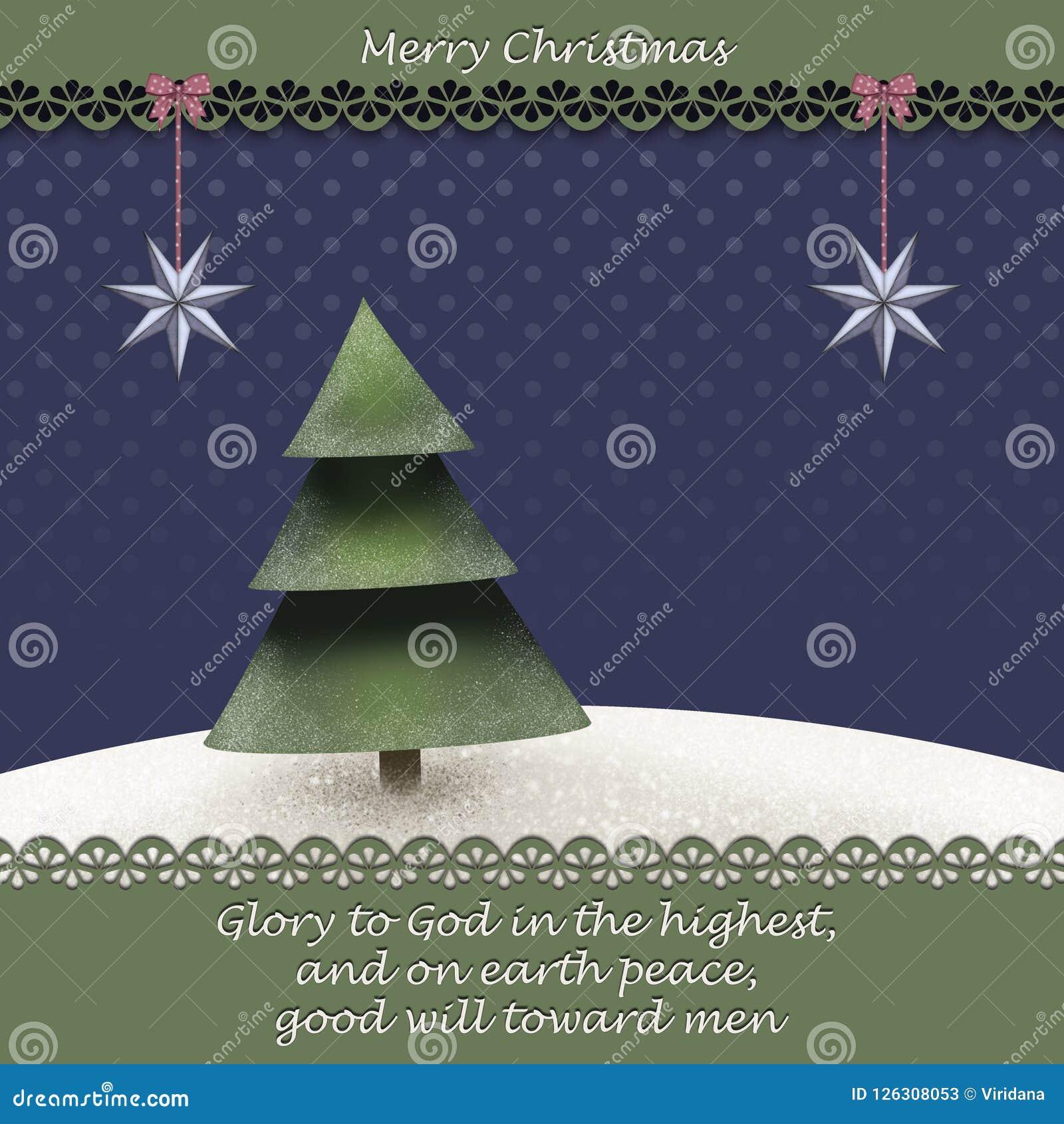 Weihnachtsgrußkarte mit Weihnachtsbaum I winterlandscape und eine Bibel zitieren von Luke 2 14