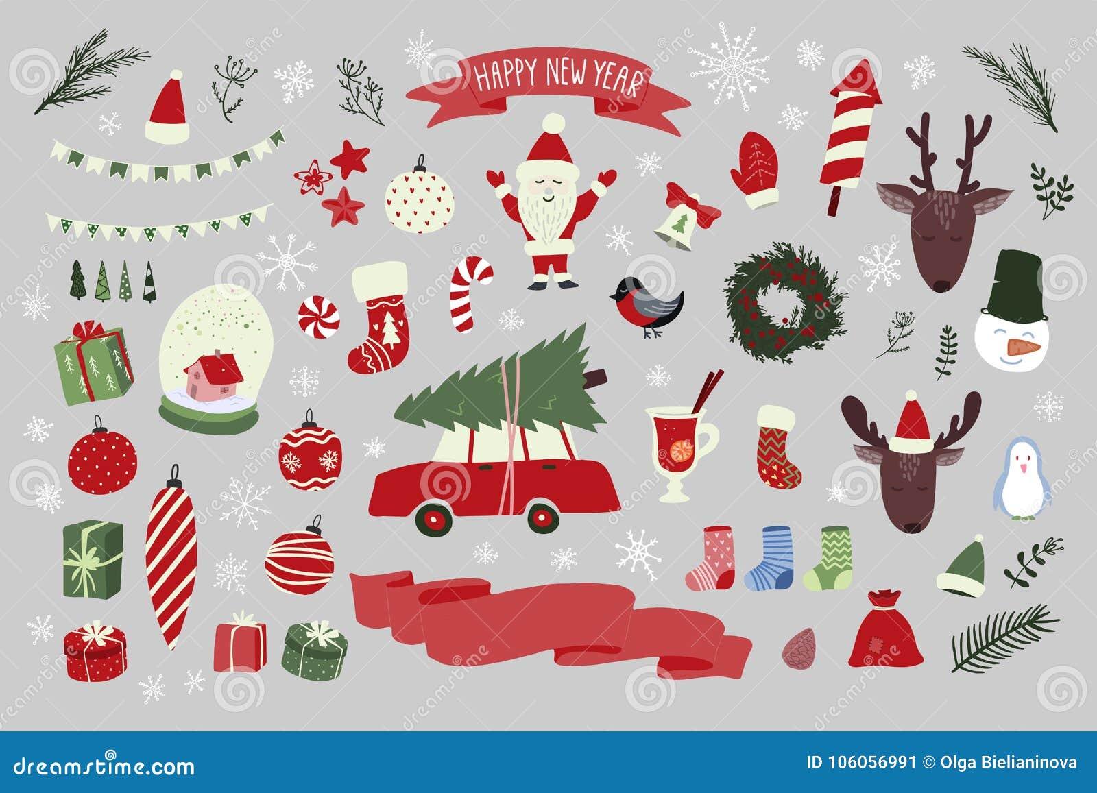 Weihnachtshand gezeichneter Element-Satz Neujahrsfeiertagzeichen