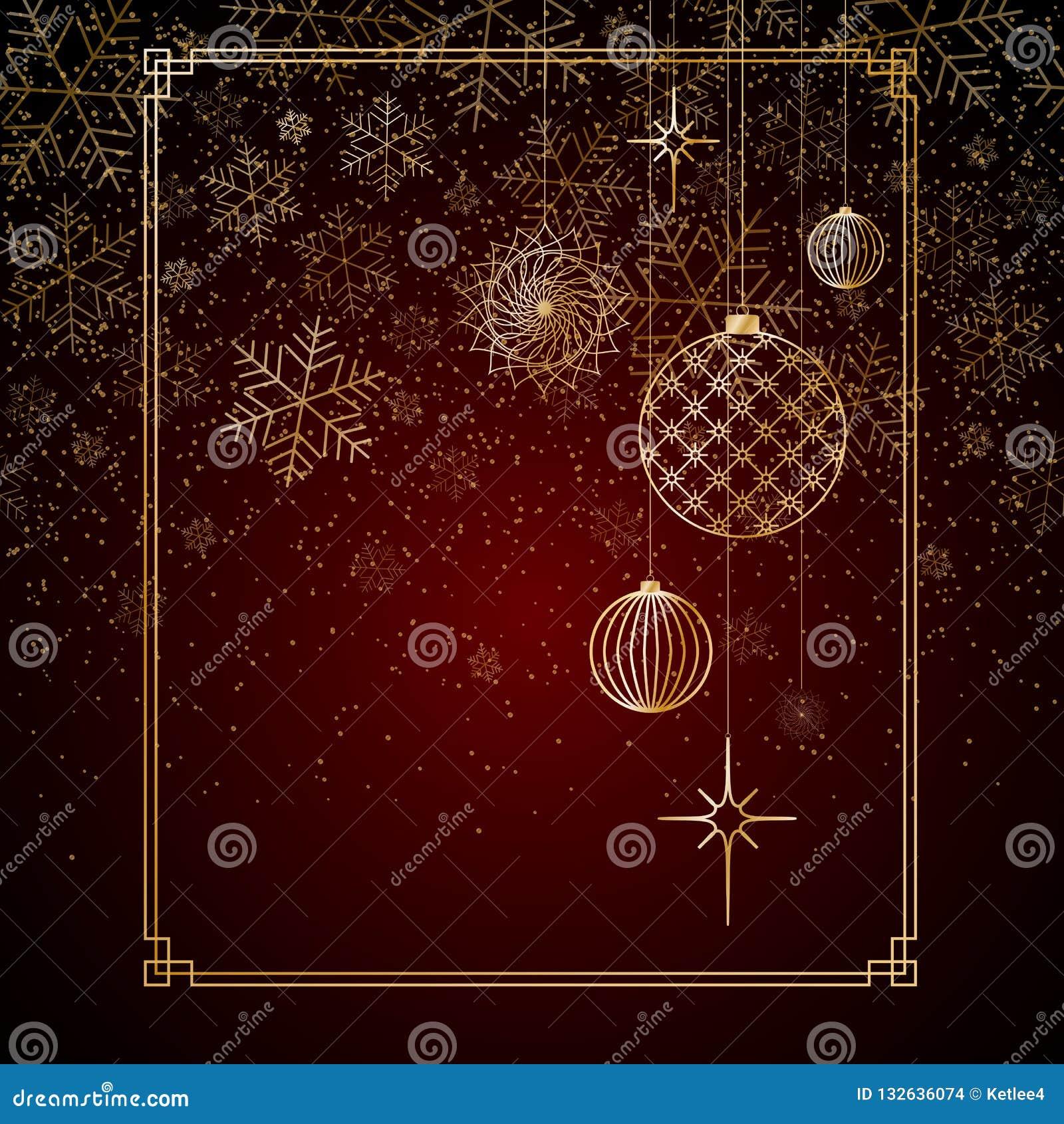 Weihnachtshintergrund Goldkugeln spielt Sterne, die Schneeflocken auf einem roten Hintergrund ein Hintergrund für Weihnachten und