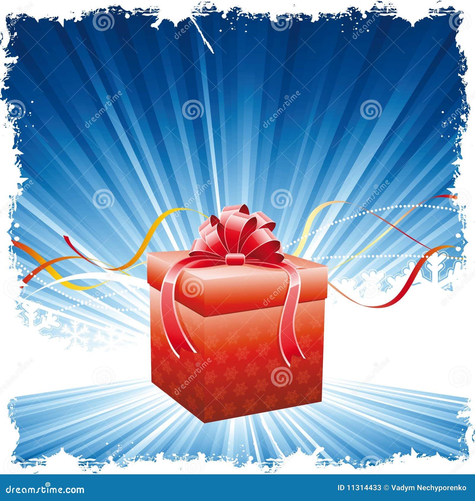Weihnachtshintergrund mit Geschenk