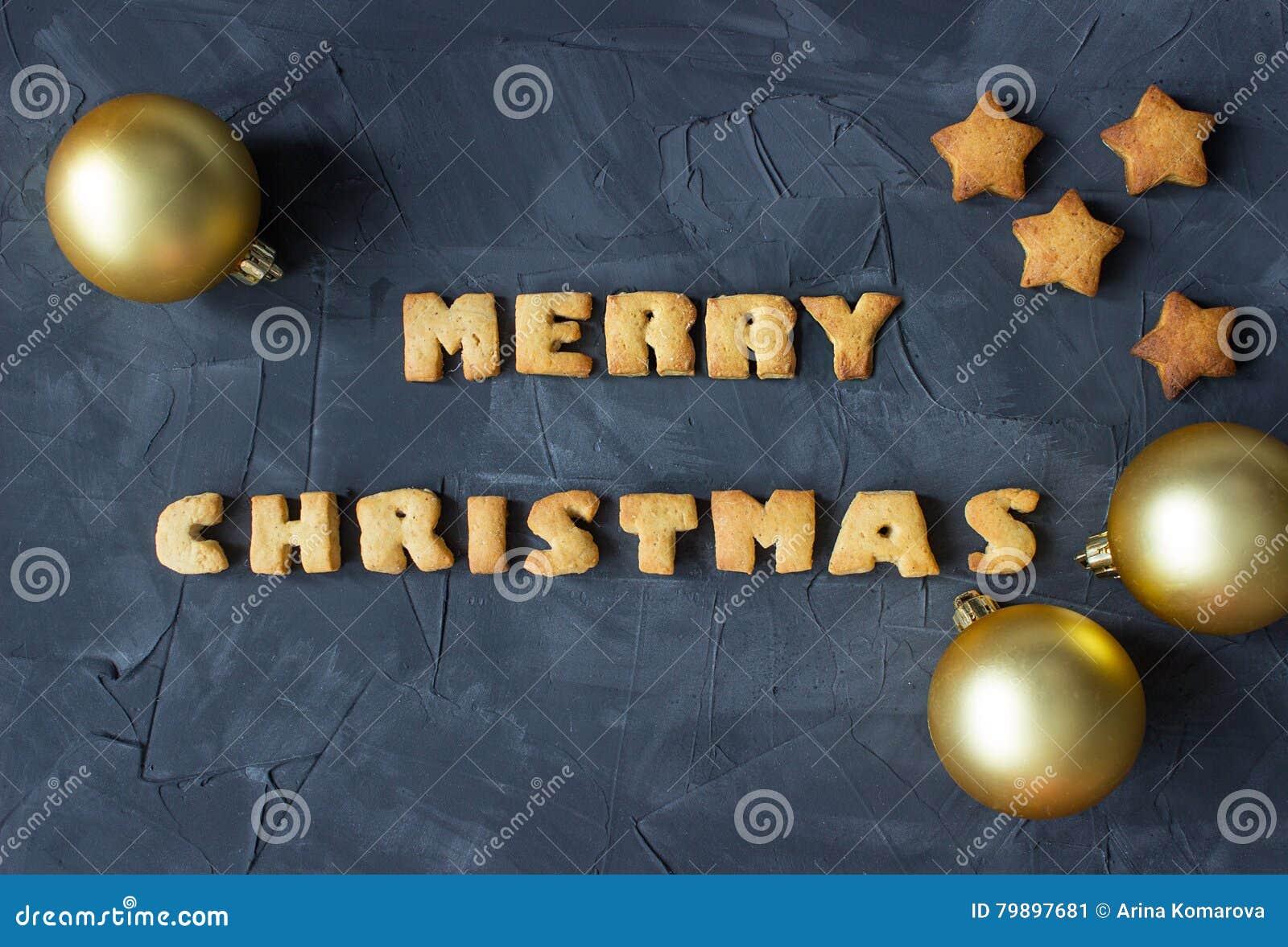 Weihnachtshintergrund Mit Weihnachtsbällen Und Gebackenen ...