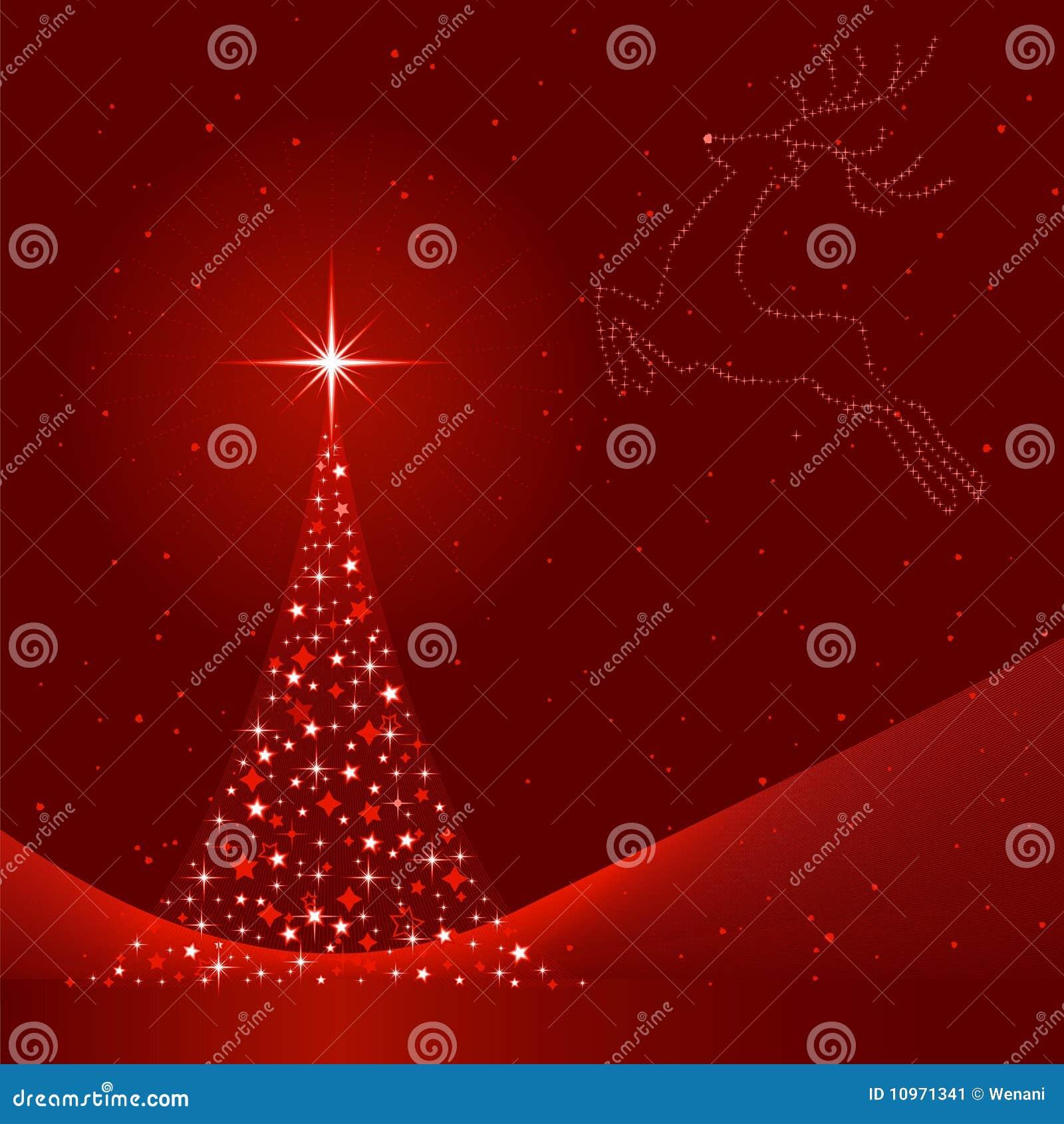 weihnachtshintergrund mit weihnachtsbaum und ren vektor. Black Bedroom Furniture Sets. Home Design Ideas