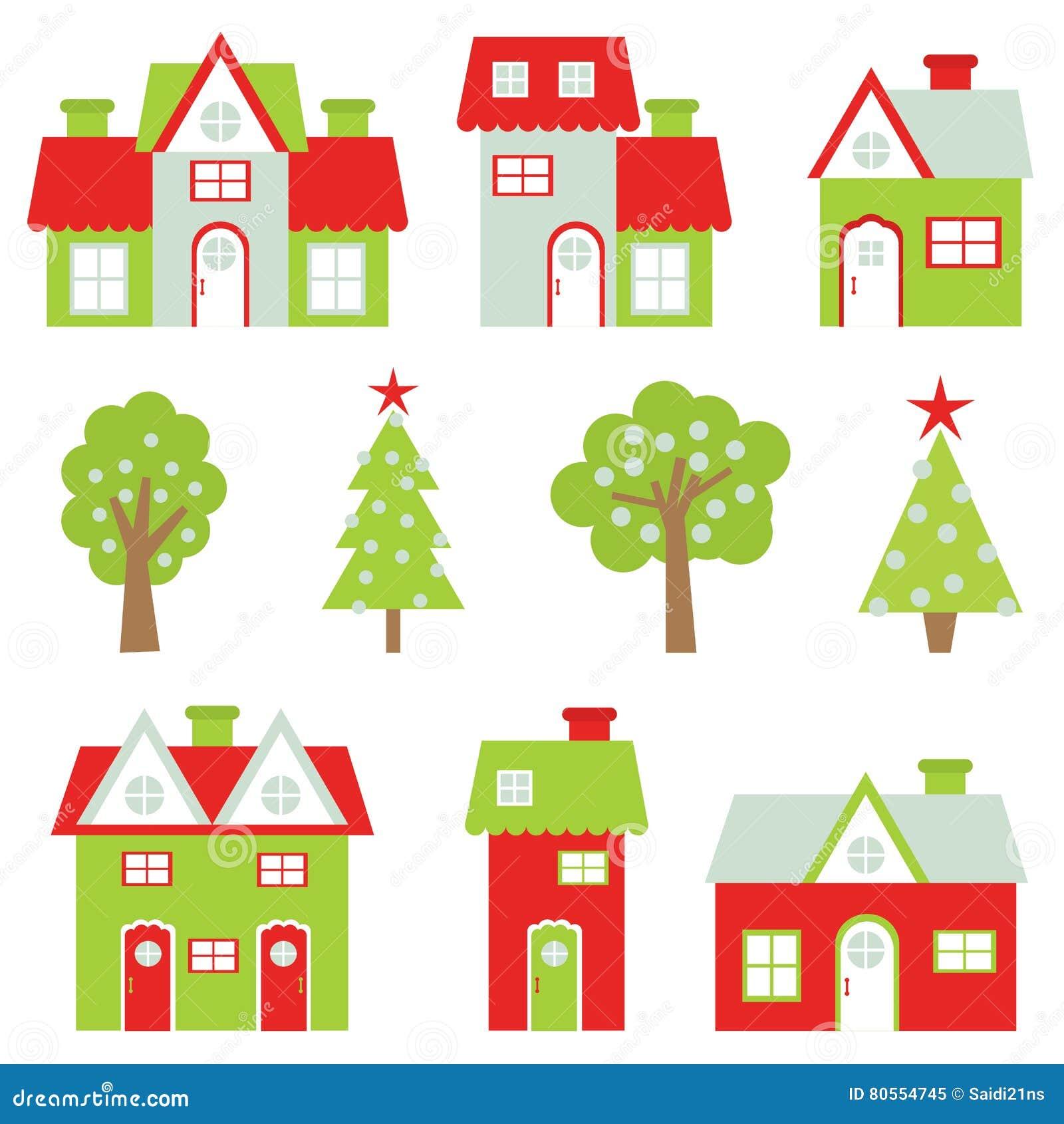 Weihnachtsbaum Clipart.Weihnachtsillustration Mit Buntem Haus Und Weihnachtsbaum Passend