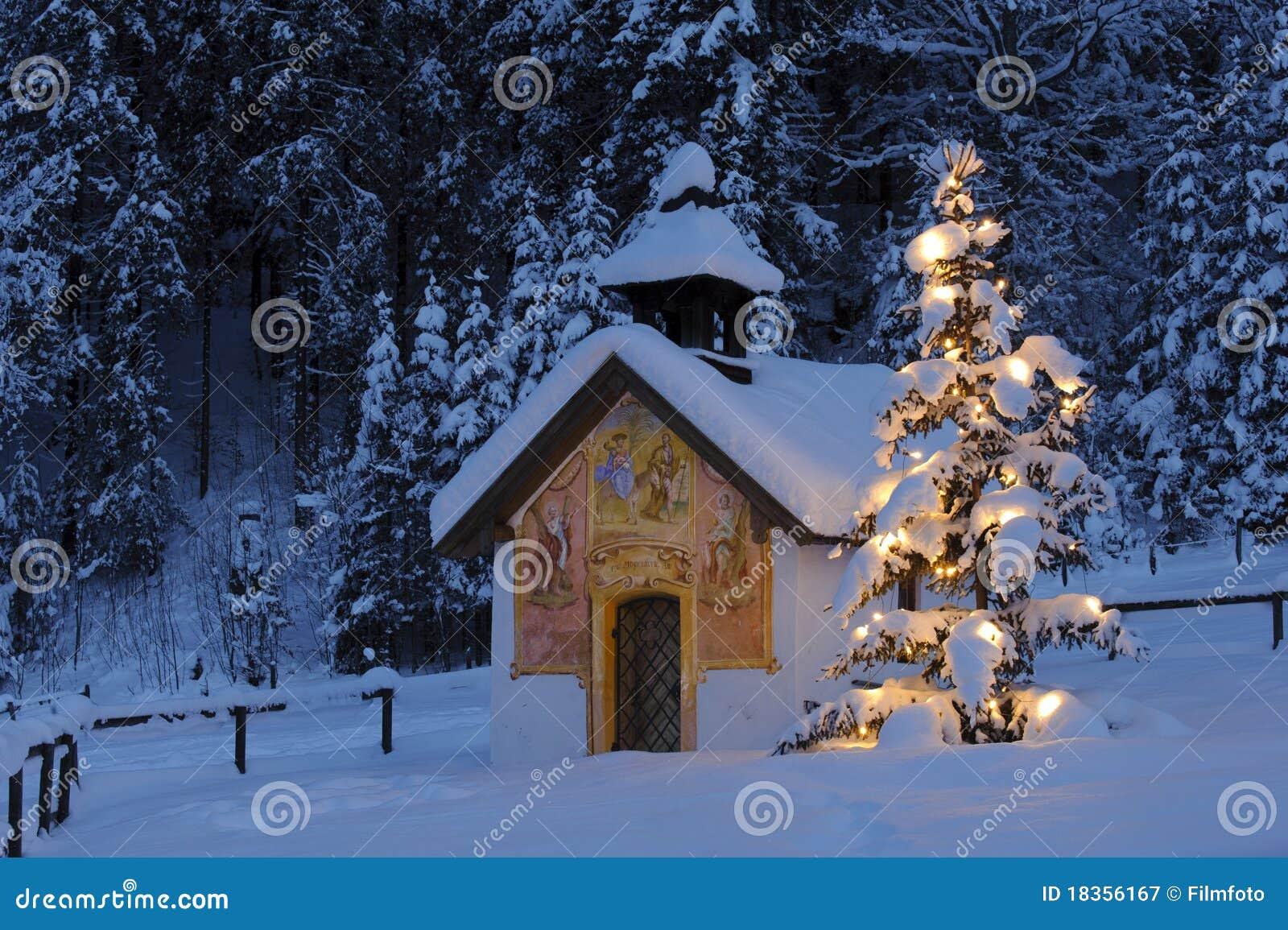weihnachtskapelle stockbild bild von idyllisch januar. Black Bedroom Furniture Sets. Home Design Ideas