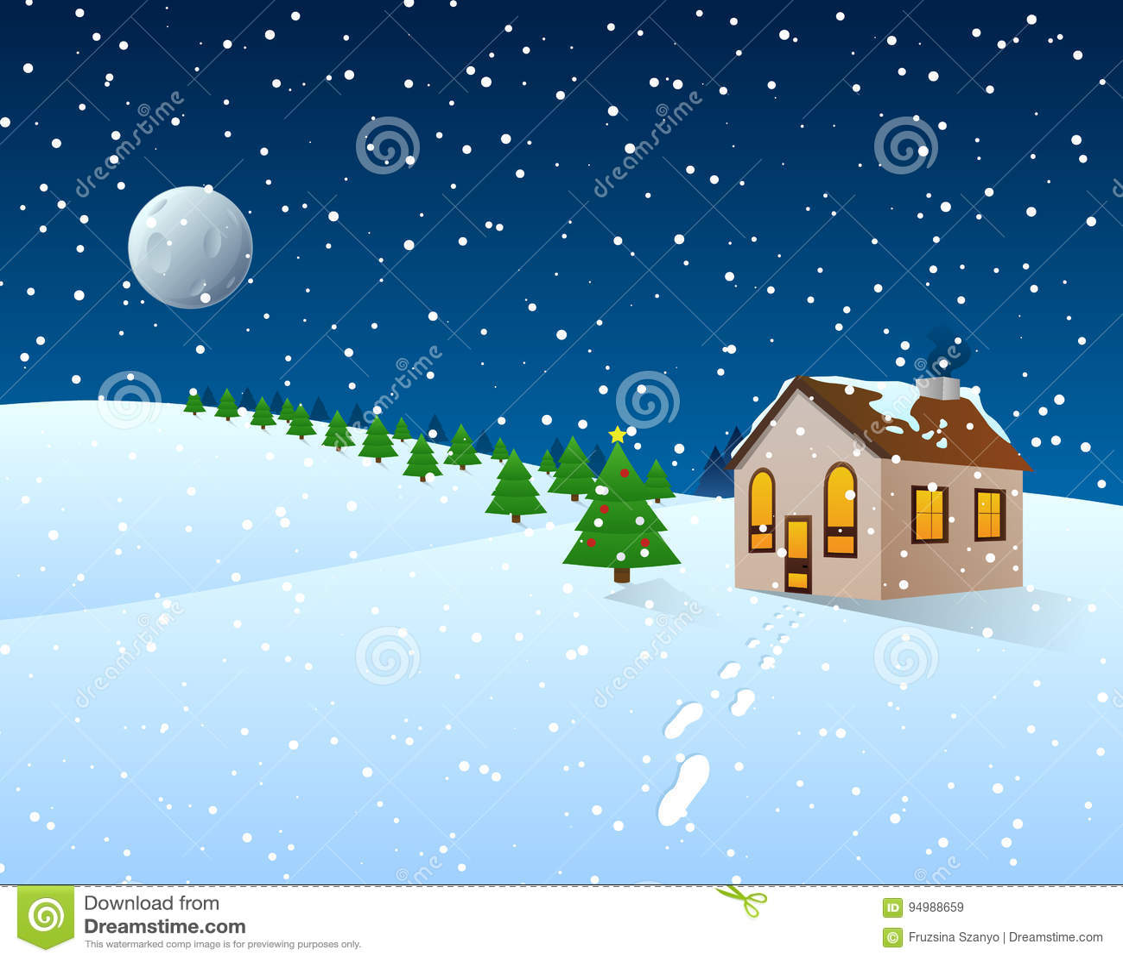 Weihnachtskarikatur Clipart - Winter-Landschaft Stock Abbildung ...