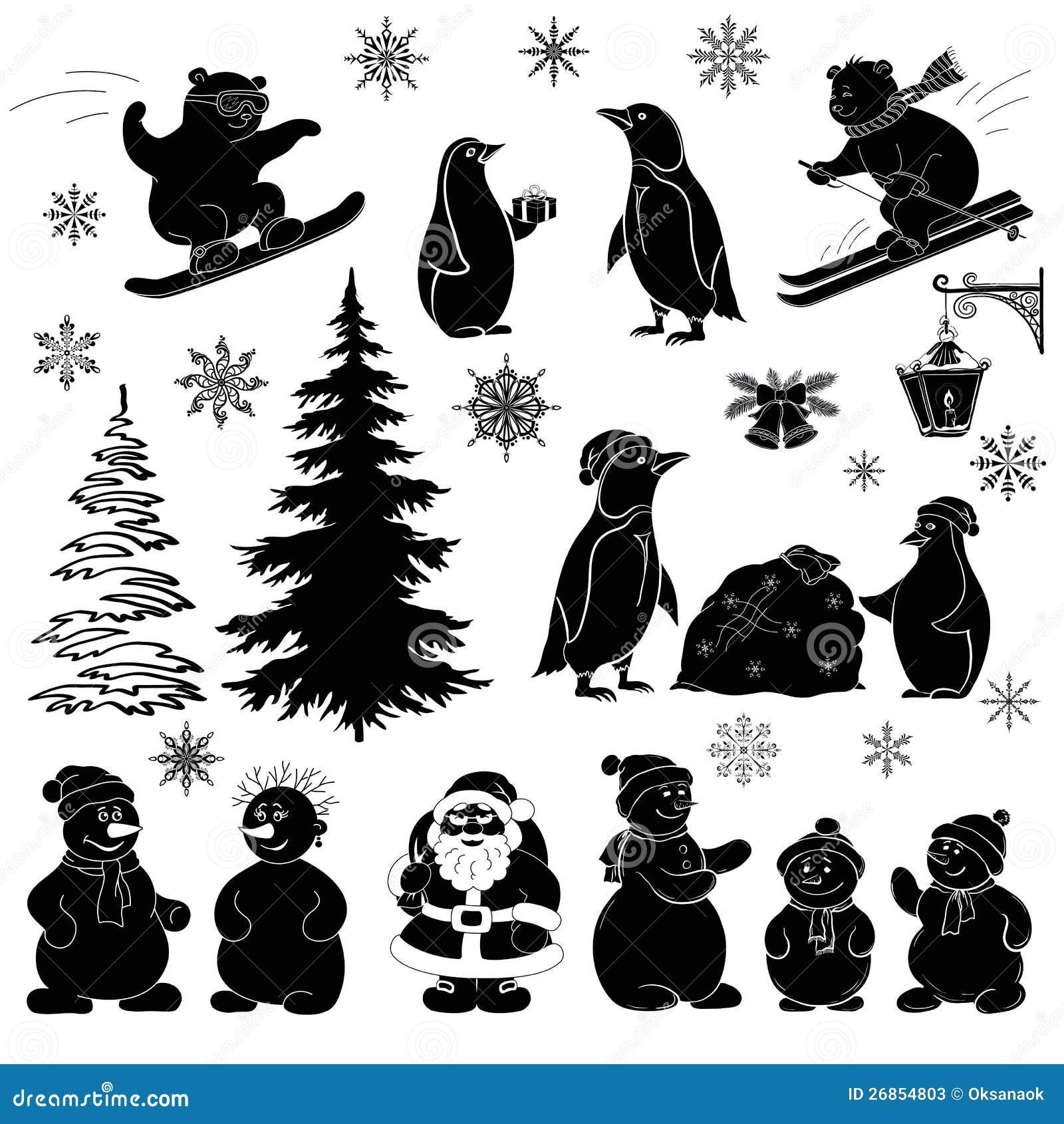 Weihnachtskarikatur Stellte Schwarze Schattenbilder Ein