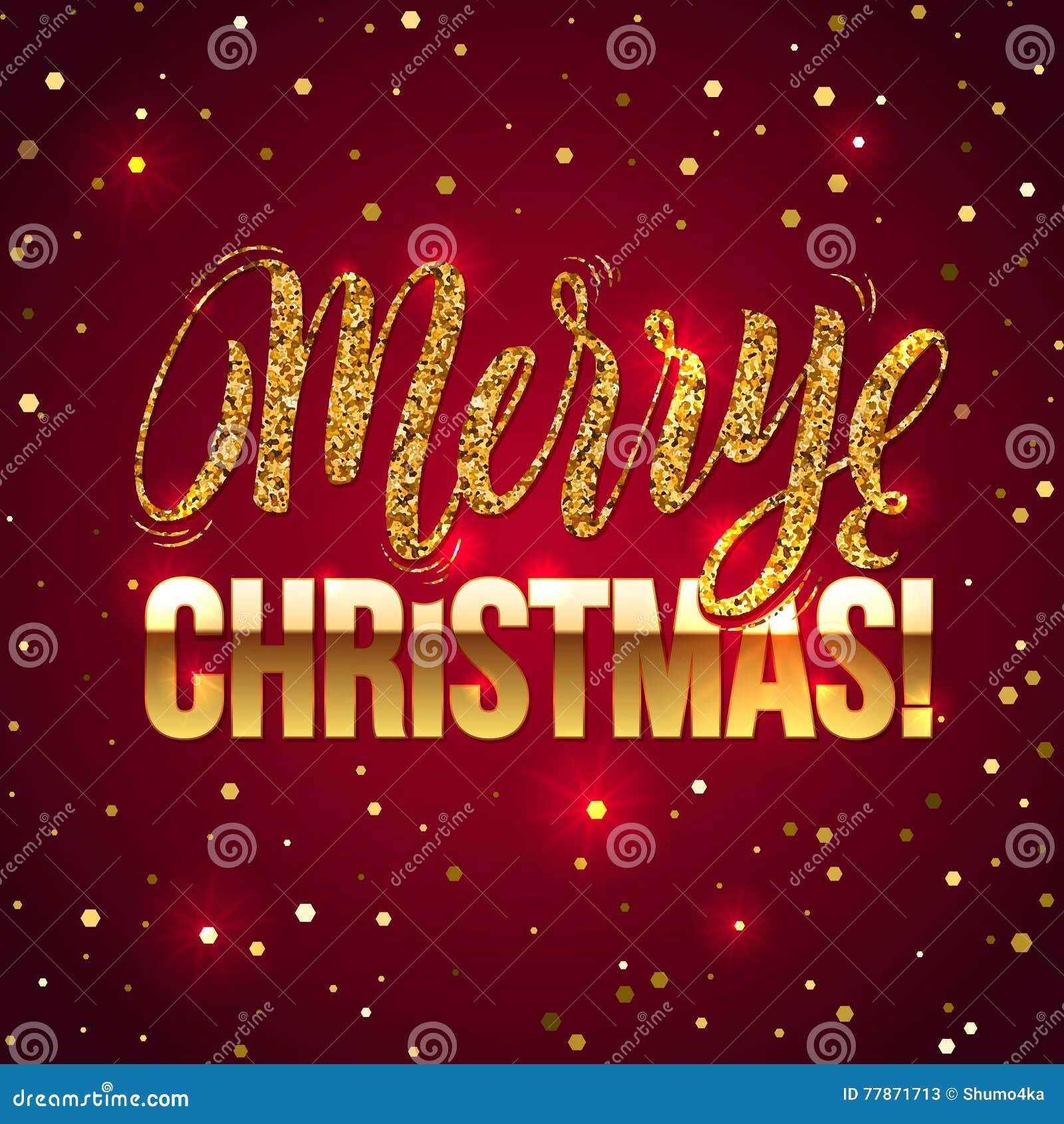 Weihnachtskarte Gold Funkelt Auf Weißem Hintergrund Funkeln Und ...