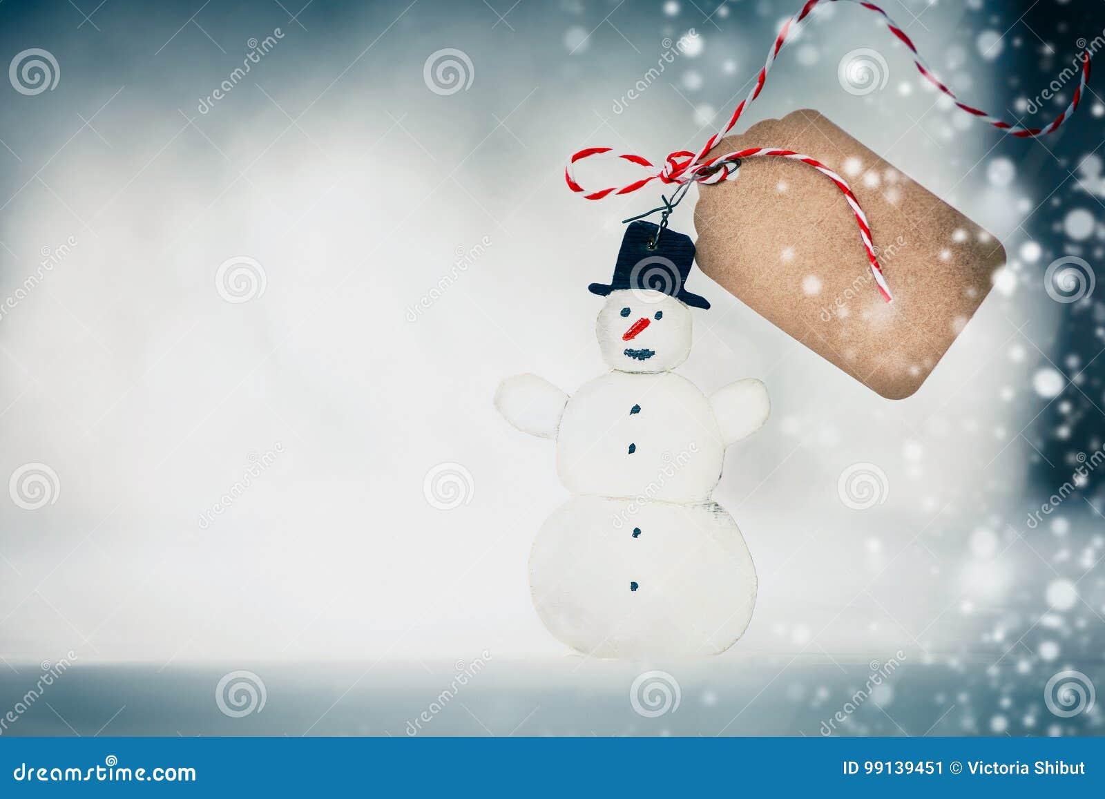 Weihnachtskarte Mit Handgemachtem Schneemann, Tag Und Schnee Auf ...