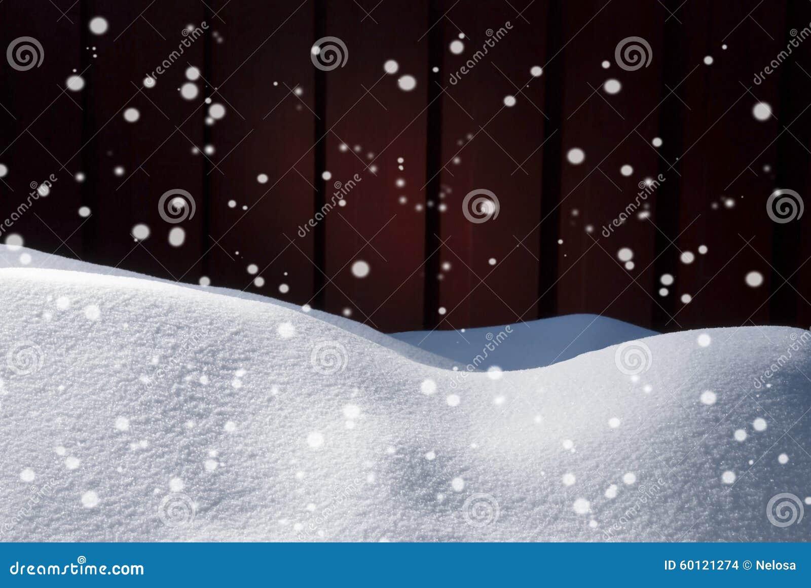 Weihnachtskarte Mit Kopien-Raum, Weißer Schnee, Schneeflocken ...