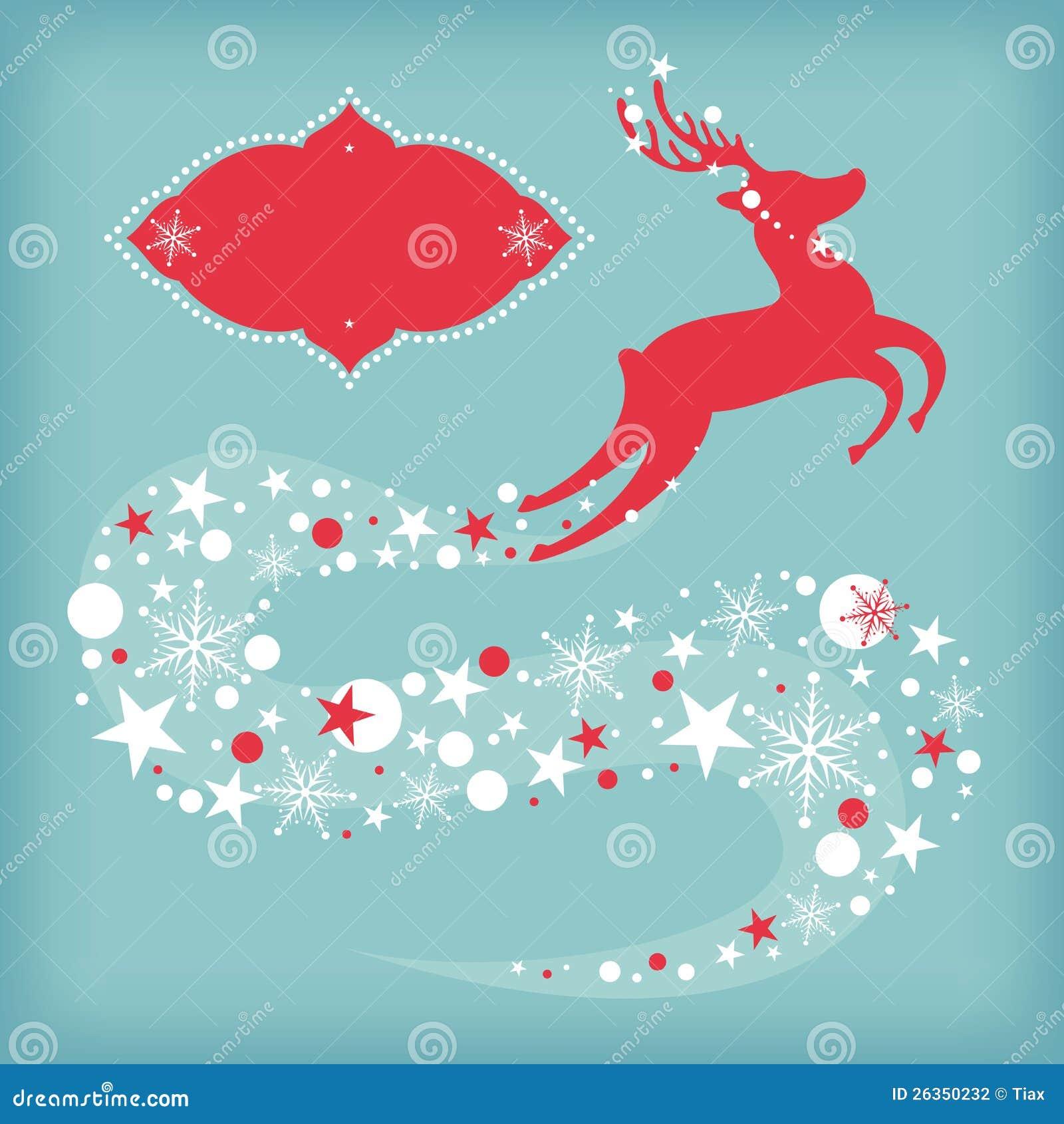 Weihnachtskarte mit Rotwild