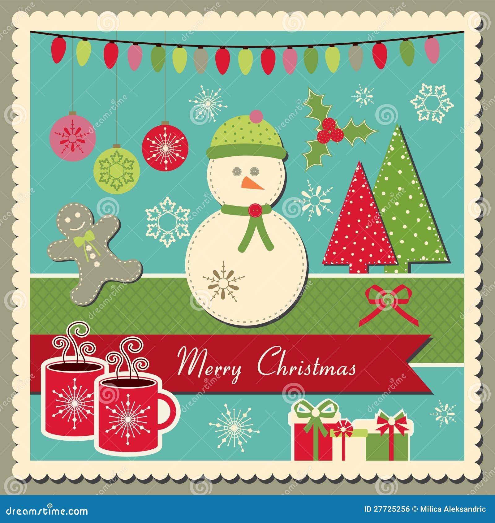 Weihnachtskarte mit Schneemann