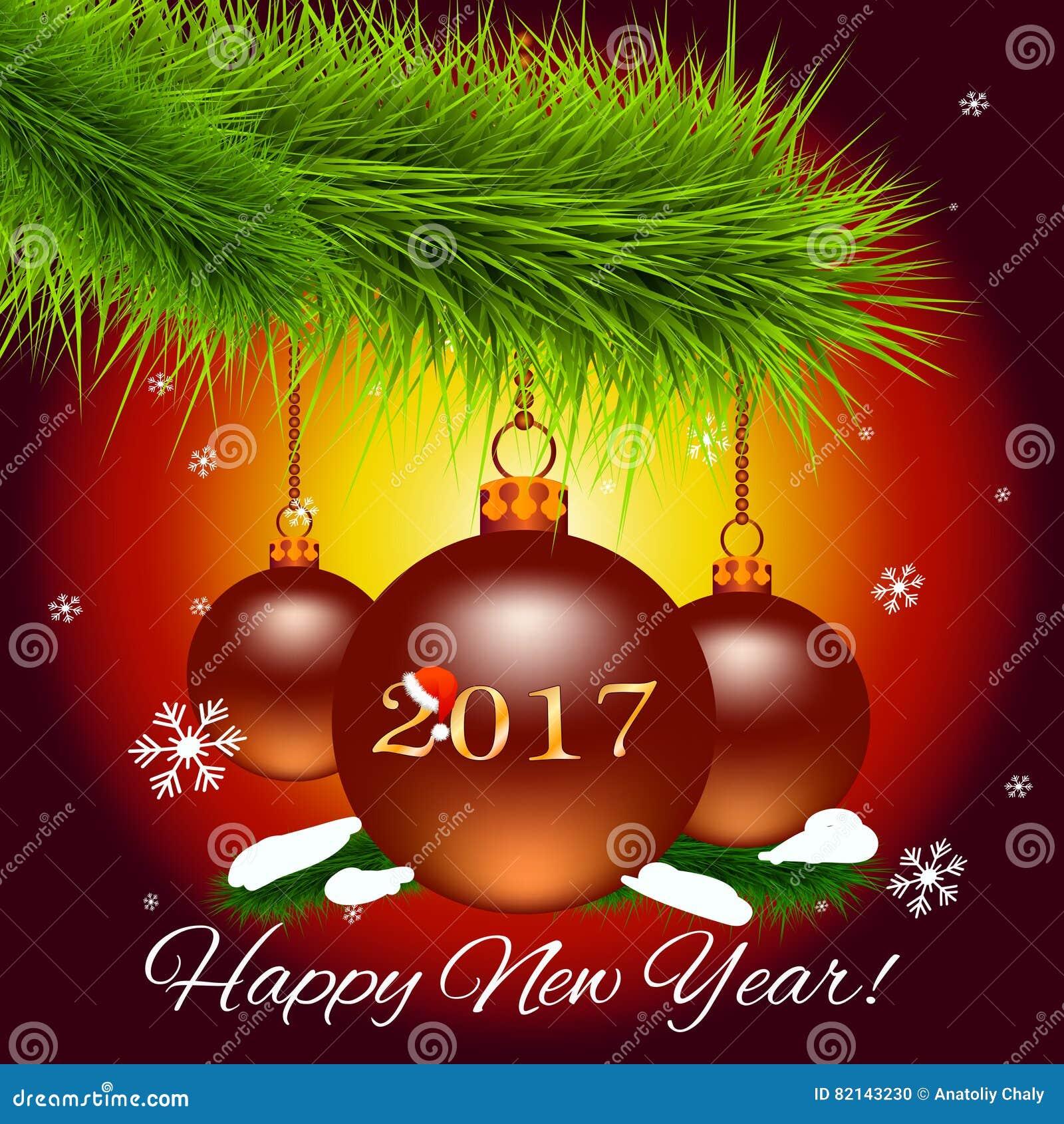 Weihnachtskarte Mit Weihnachtsbaumast Und Weihnachtsbällen Und Das ...