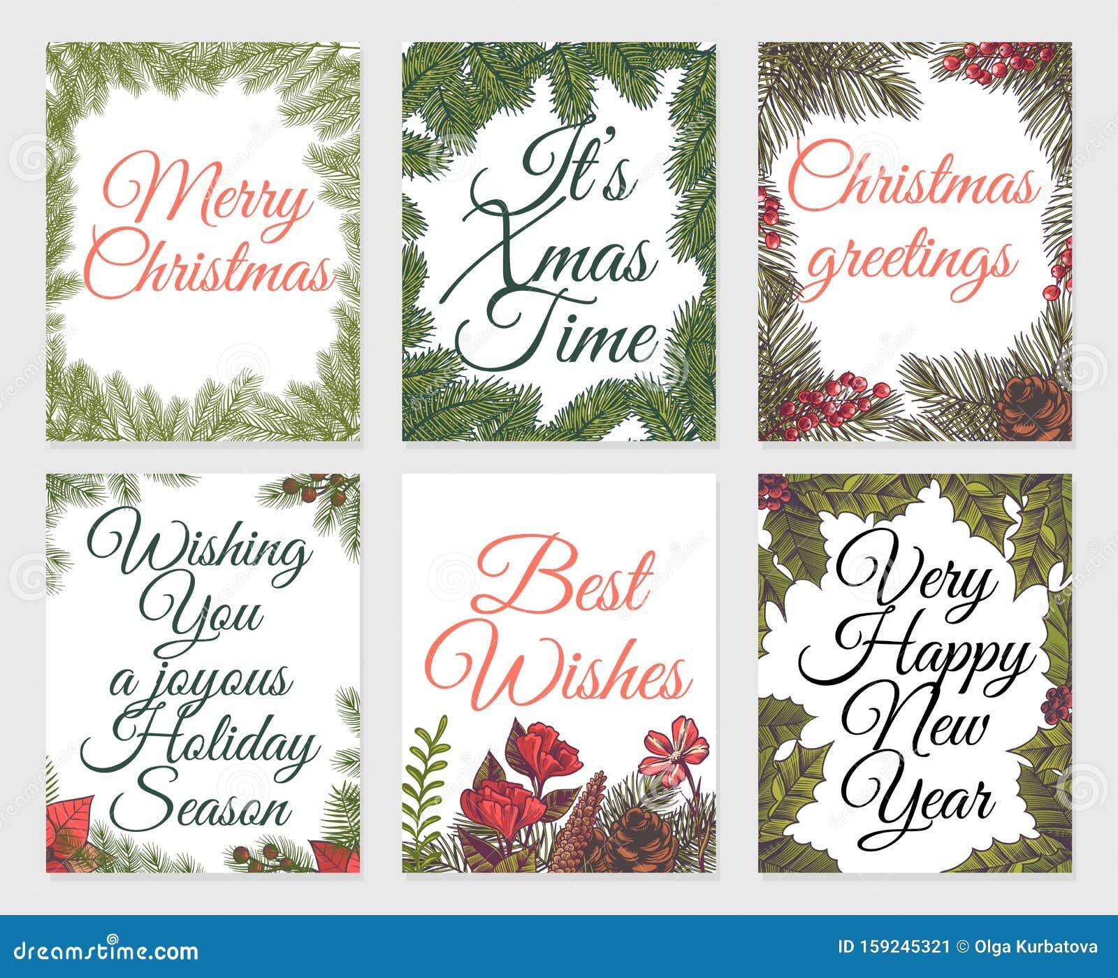 weihnachtskarten-set vintage weihnachten bemalt winter