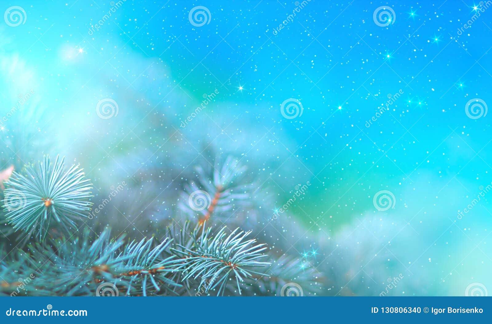 Weihnachtskiefernniederlassung in den Strahlen des hellen Abschlusses oben, des blauen Hintergrundes mit Reflexionen von Sternen