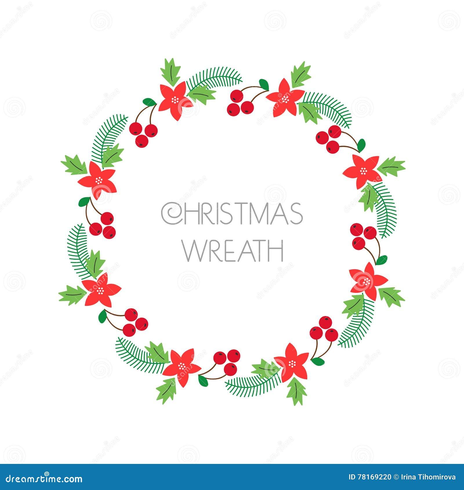 Weihnachtskarten Einladung.Weihnachtskranz Mit Vogelbeere Tannenzweige Poinsettia Runder