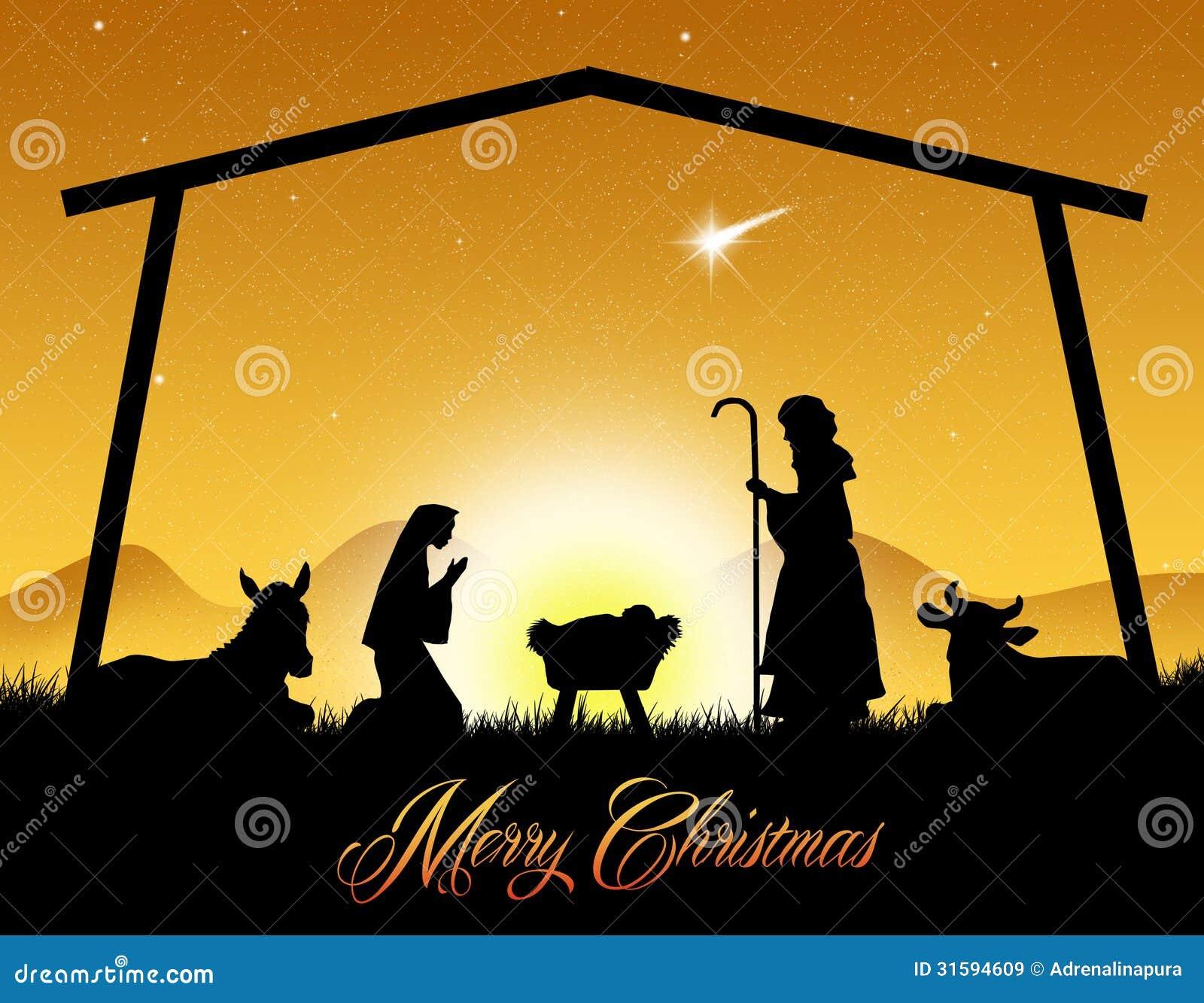 Weihnachtskrippe stock abbildung. Illustration von heilig - 31594609