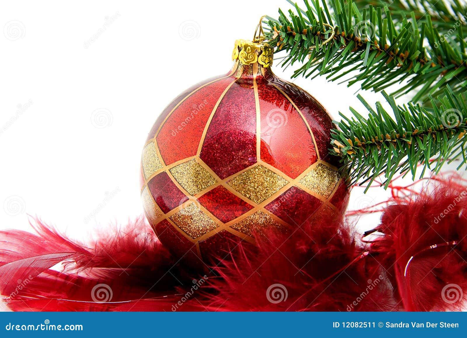 weihnachtskugel mit federn und baum stockbild bild von sankt feder 12082511. Black Bedroom Furniture Sets. Home Design Ideas