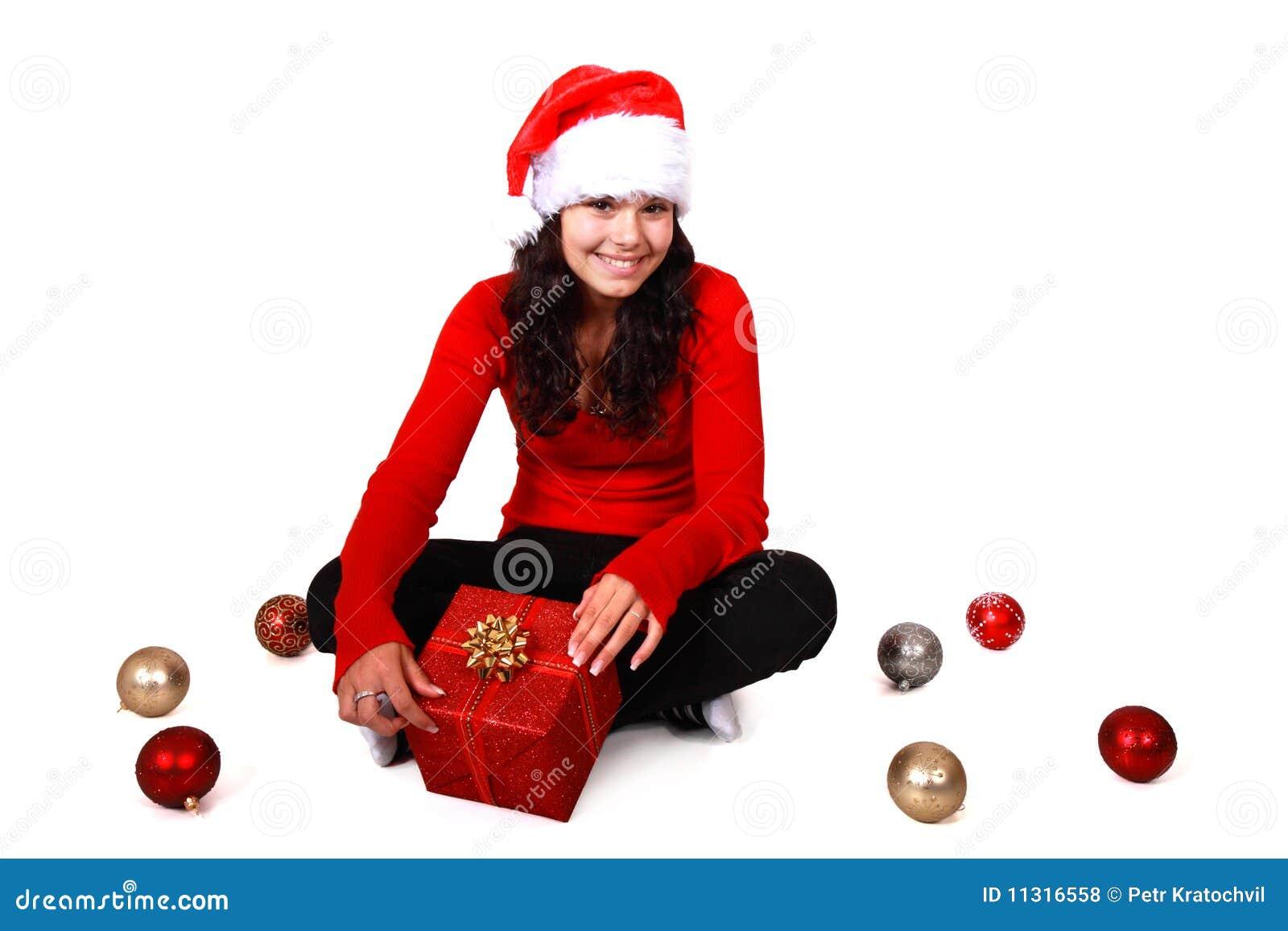 Weihnachtsmädchen mit Hut und Weihnachtsfühlern