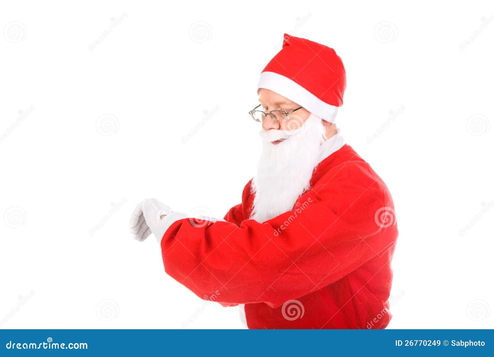 Weihnachtsmann-Blick auf Uhr