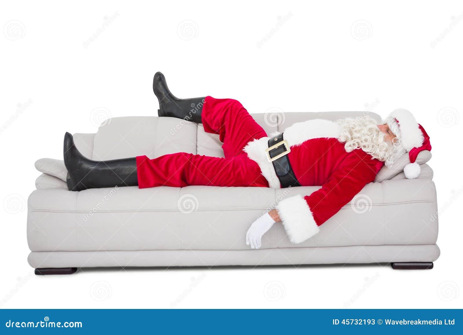 weihnachtsmann der auf der couch schl ft stockfoto bild. Black Bedroom Furniture Sets. Home Design Ideas