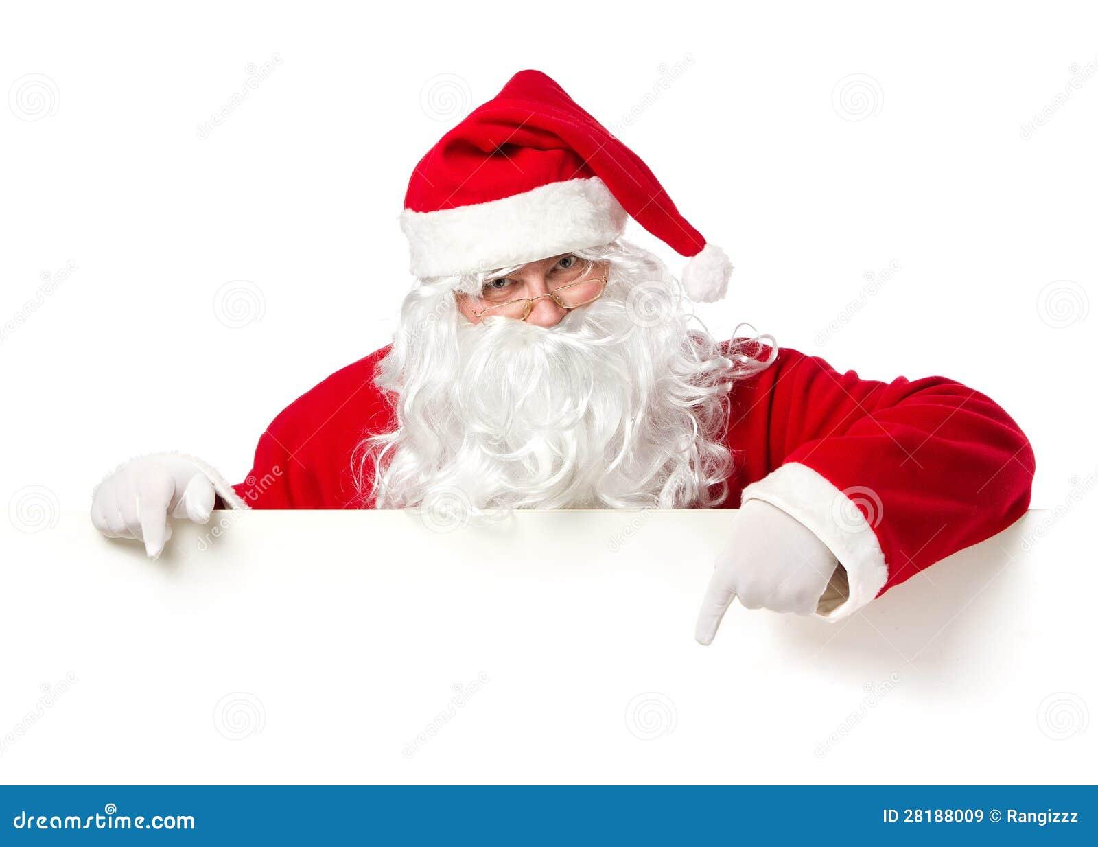 Weihnachtsmann, der leere Fahne zeigt