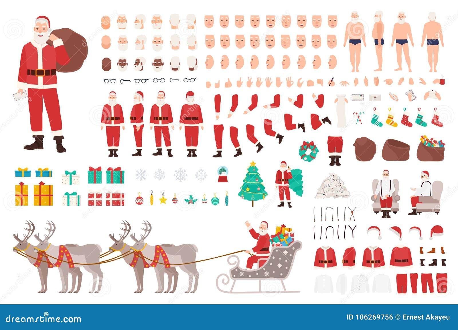 Weihnachtsmann-Erbauer oder DIY-Ausrüstung Sammlung Weihnachtszeichentrickfilm-figur-Körperteile, Kleidung, Feiertagsattribute