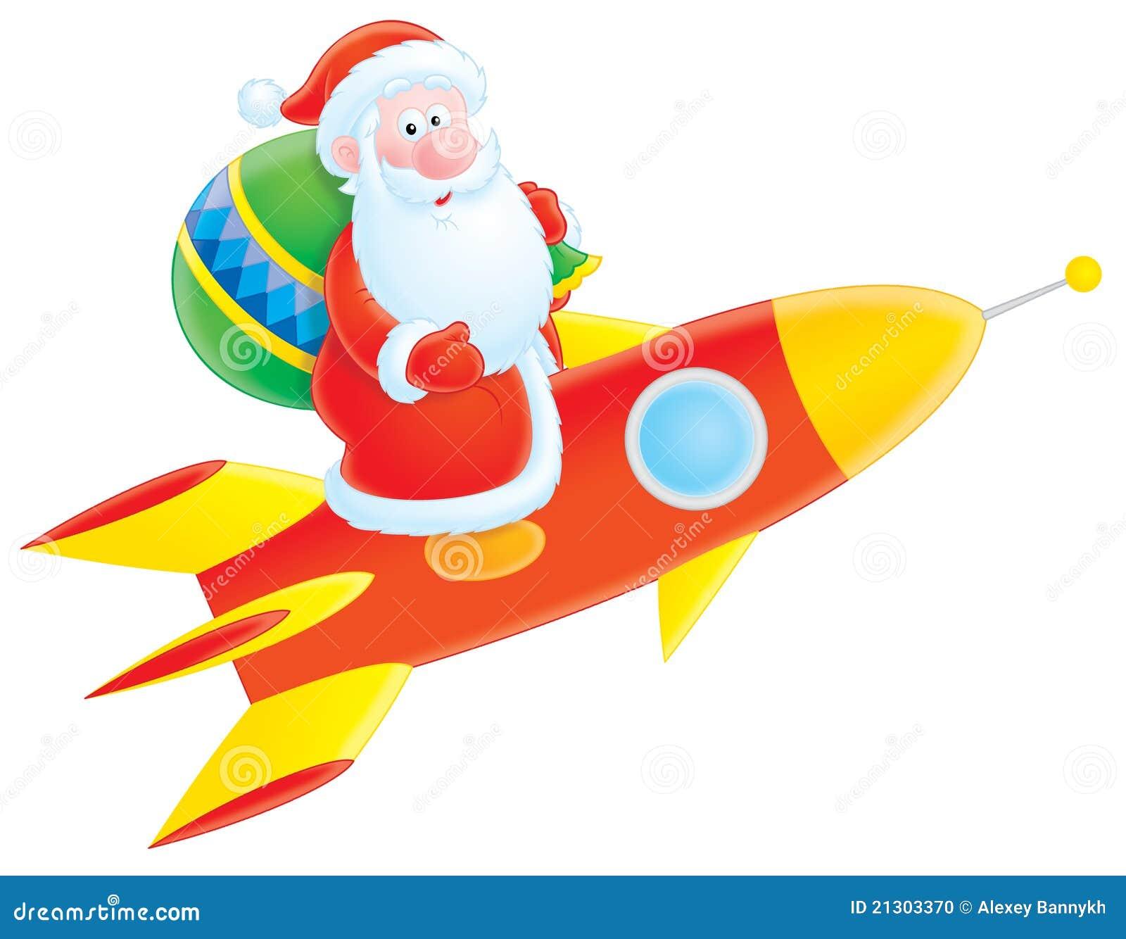 weihnachtsmann fliegt auf eine rakete stockfoto bild. Black Bedroom Furniture Sets. Home Design Ideas