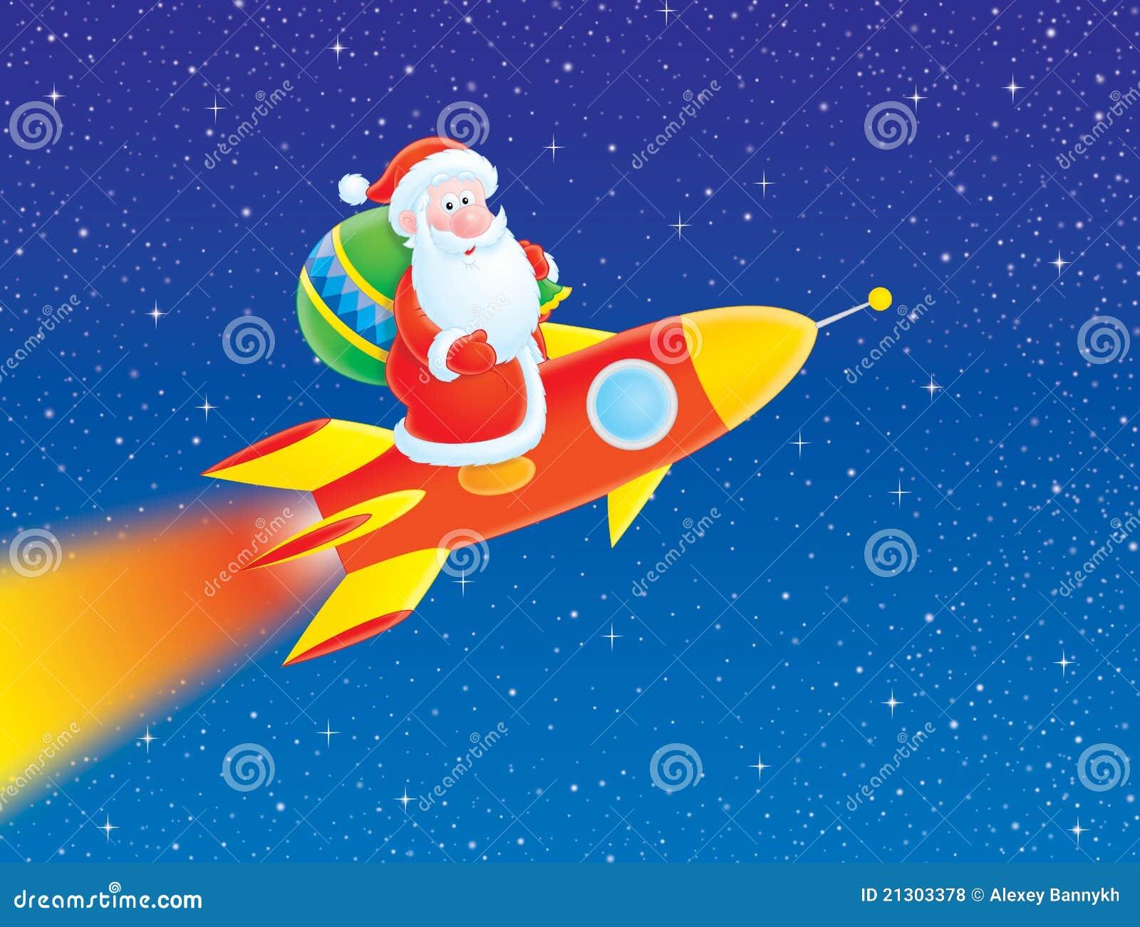 weihnachtsmann fliegt auf eine rakete stock abbildung. Black Bedroom Furniture Sets. Home Design Ideas