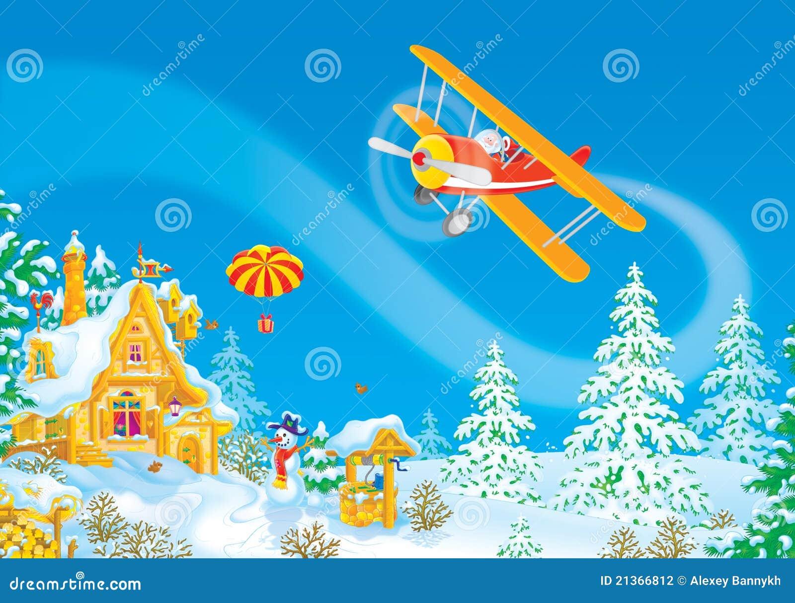 weihnachtsmann fliegt in sein flugzeug stockfotografie. Black Bedroom Furniture Sets. Home Design Ideas
