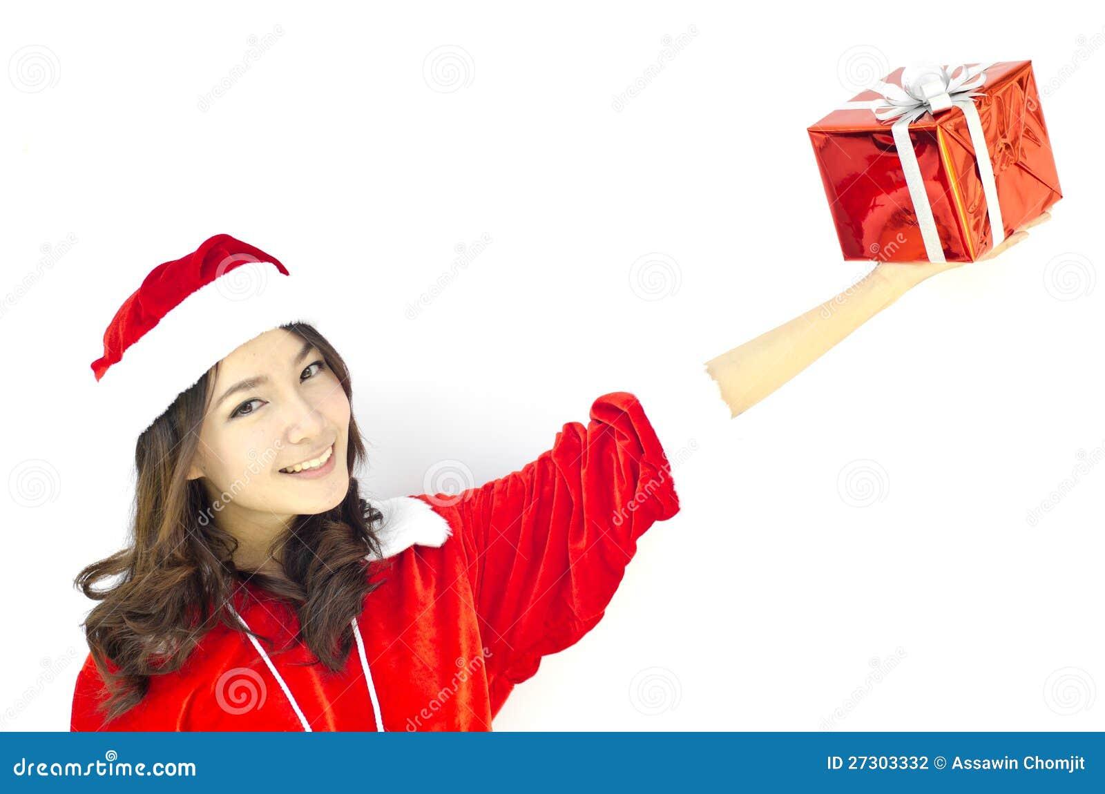 Weihnachtsmann-Hut mit grauem Weihnachtsgeschenkkasten