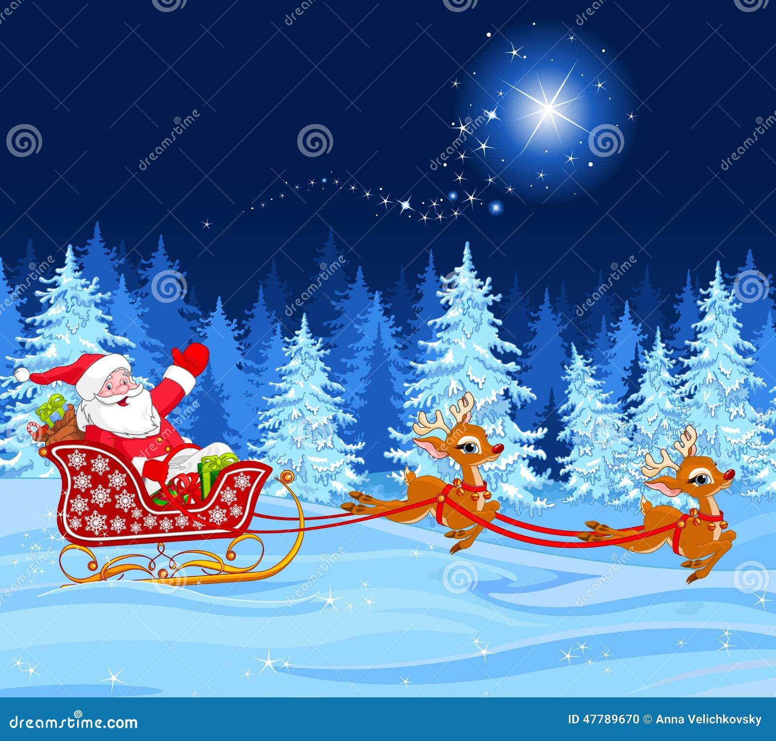 Weihnachtsmann im Schlitten