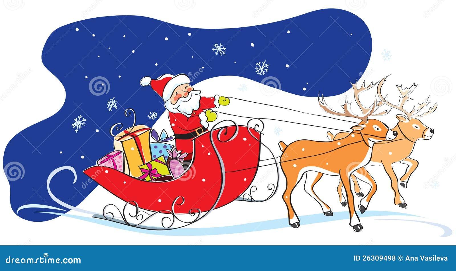 weihnachtsmann im schlitten weihnachtsgeschenke deers. Black Bedroom Furniture Sets. Home Design Ideas