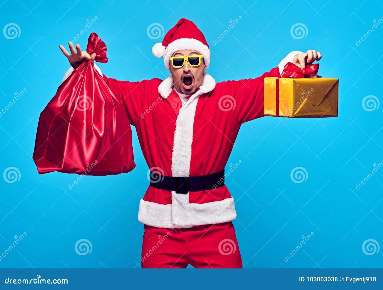 Weihnachtsmann _2 Junge glückliche Sankt Sacktasche Geschenke