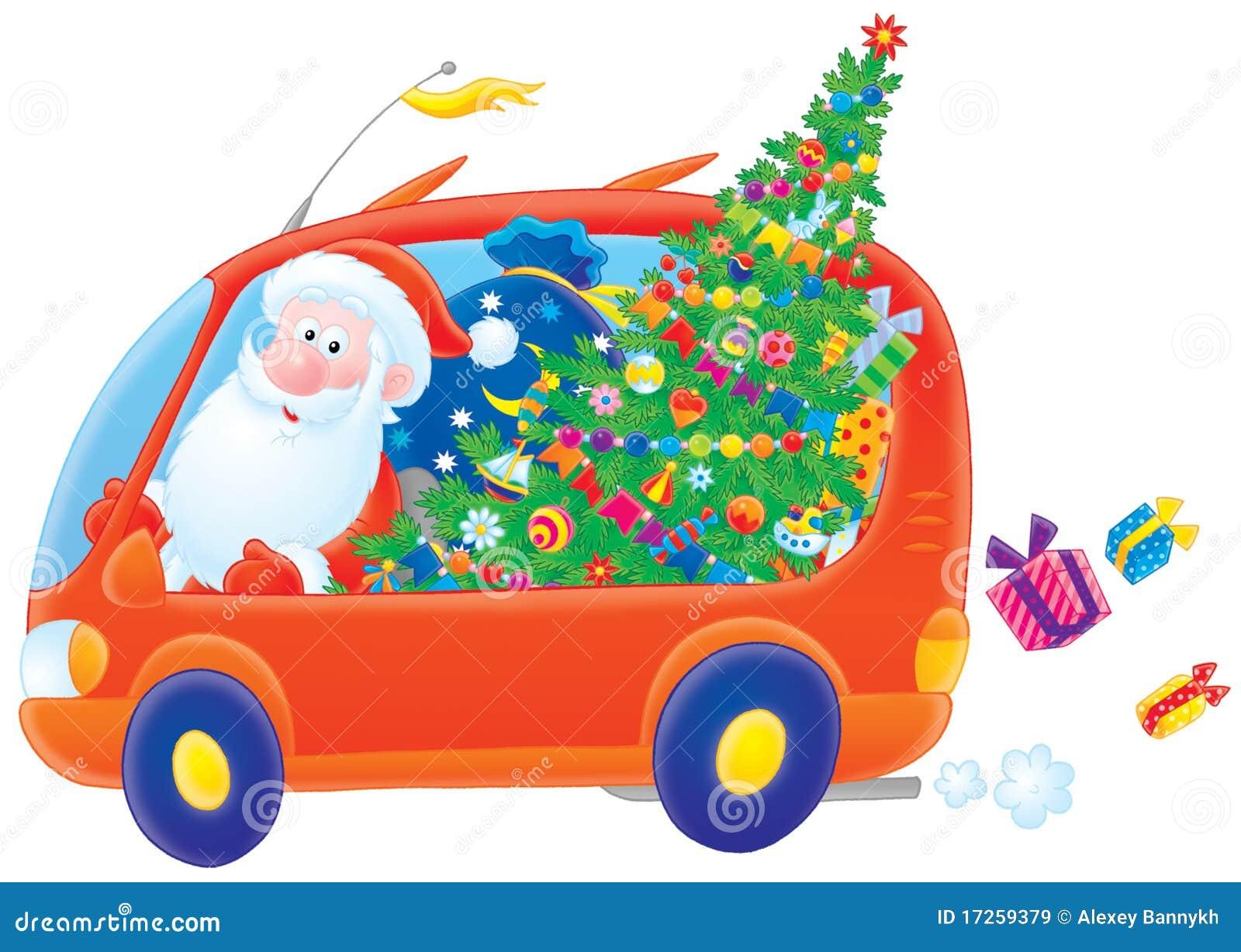 Weihnachtsmann Laufwerke In Seinem Auto Stock Abbildung